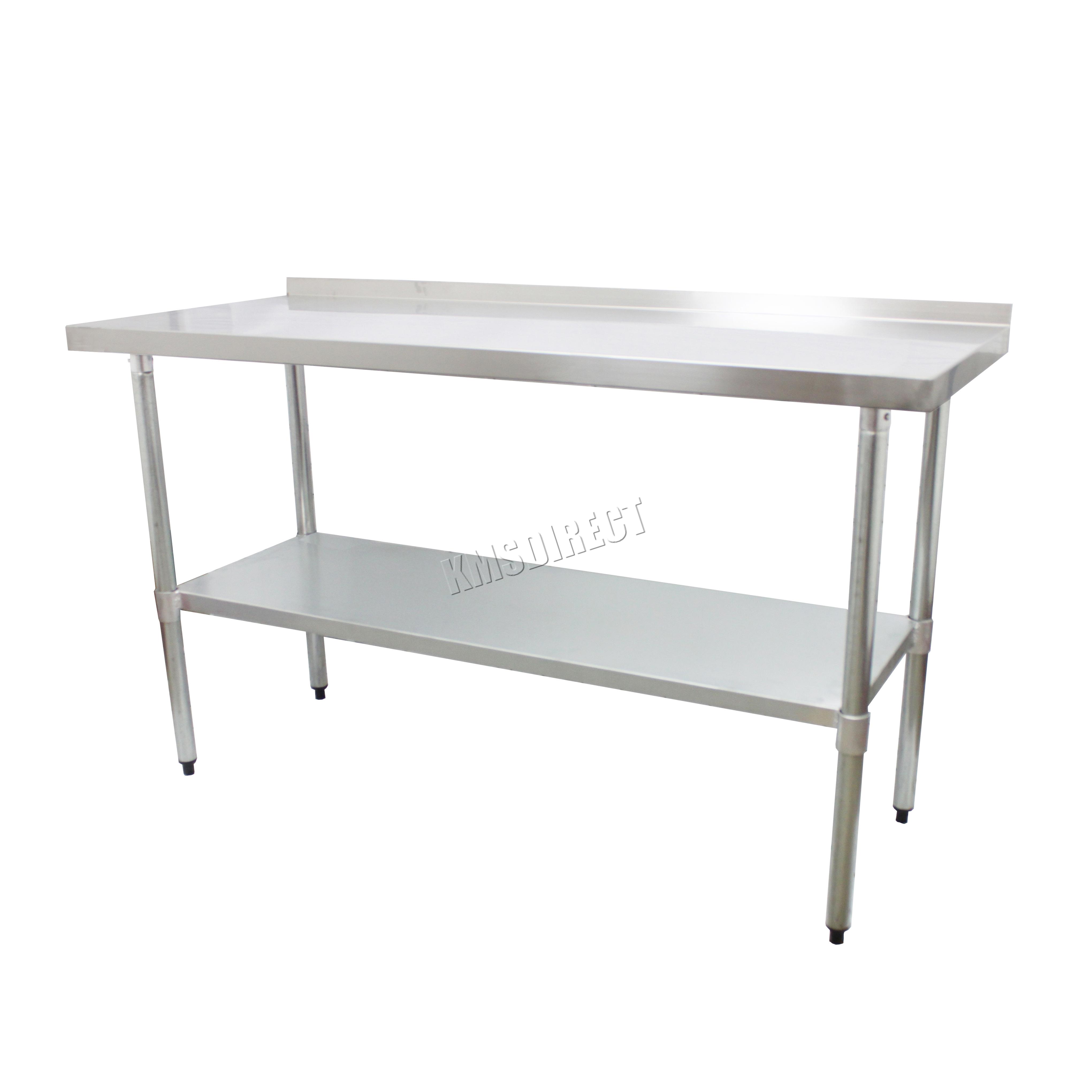 Foxhunter acier inoxydable traiteur table dosseret travail for Table cuisine banc