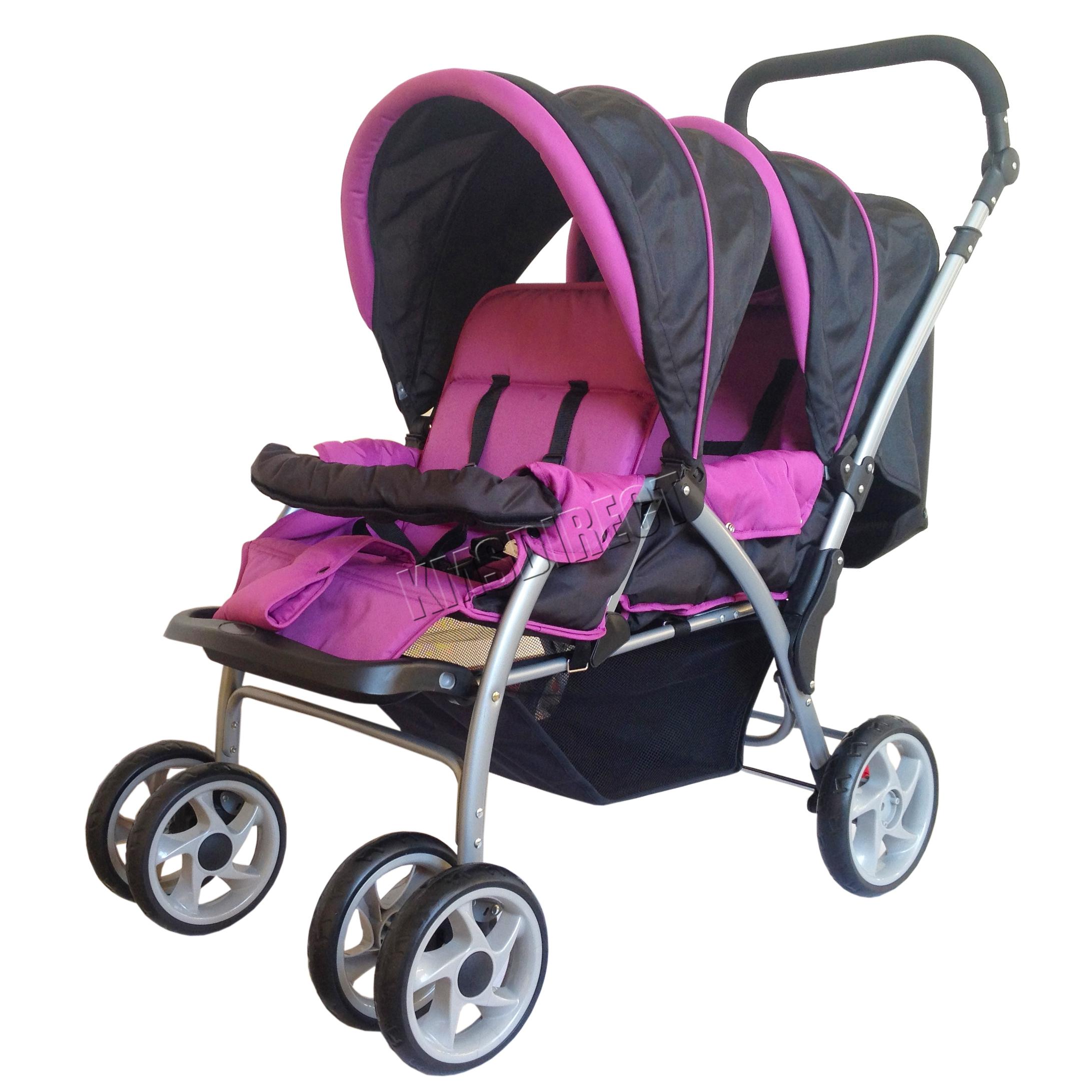 FoxHunter Baby Tandem Double Stroller Twin Pushchair Pram