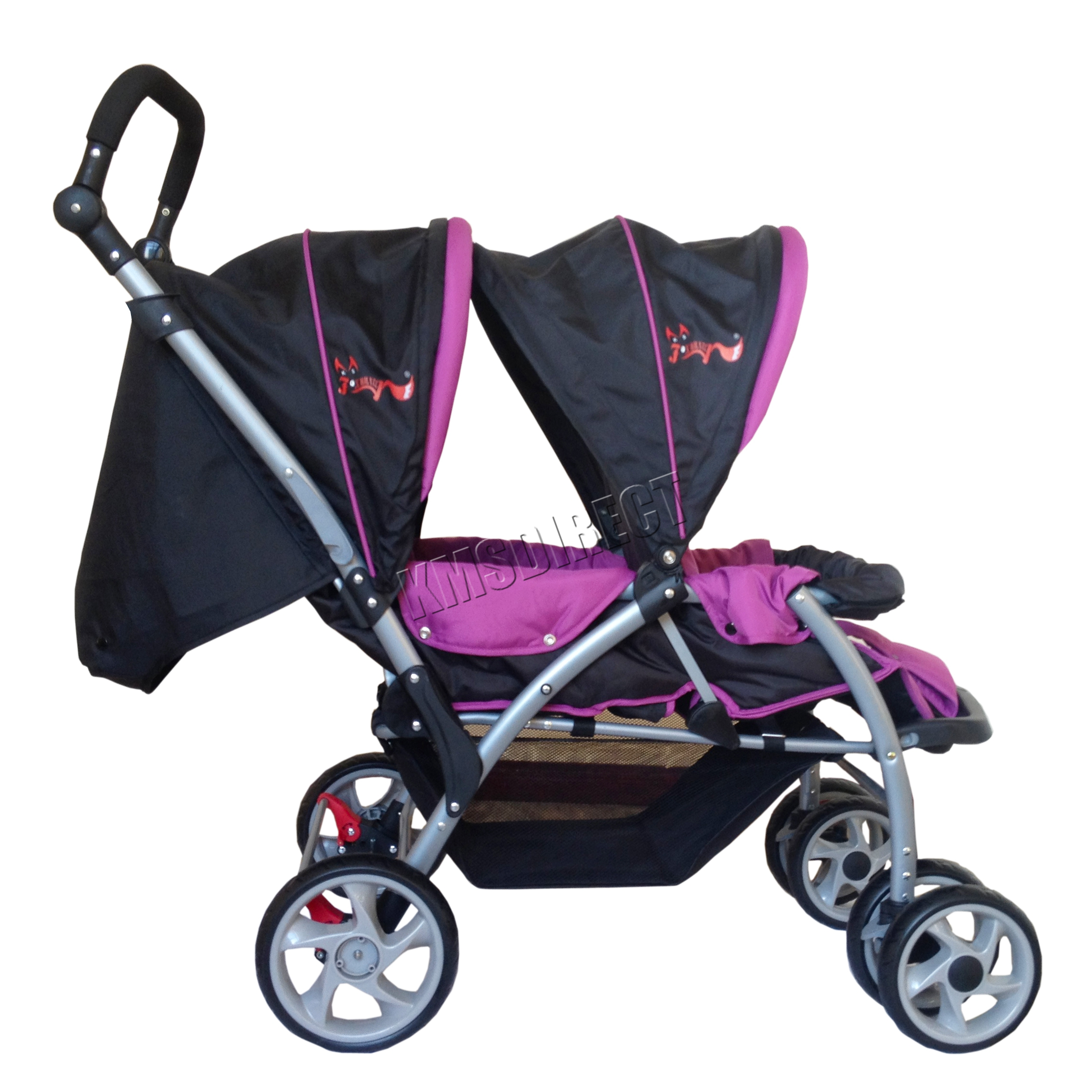 Sentinel FoxHunter Baby Tandem Double Stroller Twin Pushchair Pram Buggy Travel Purple