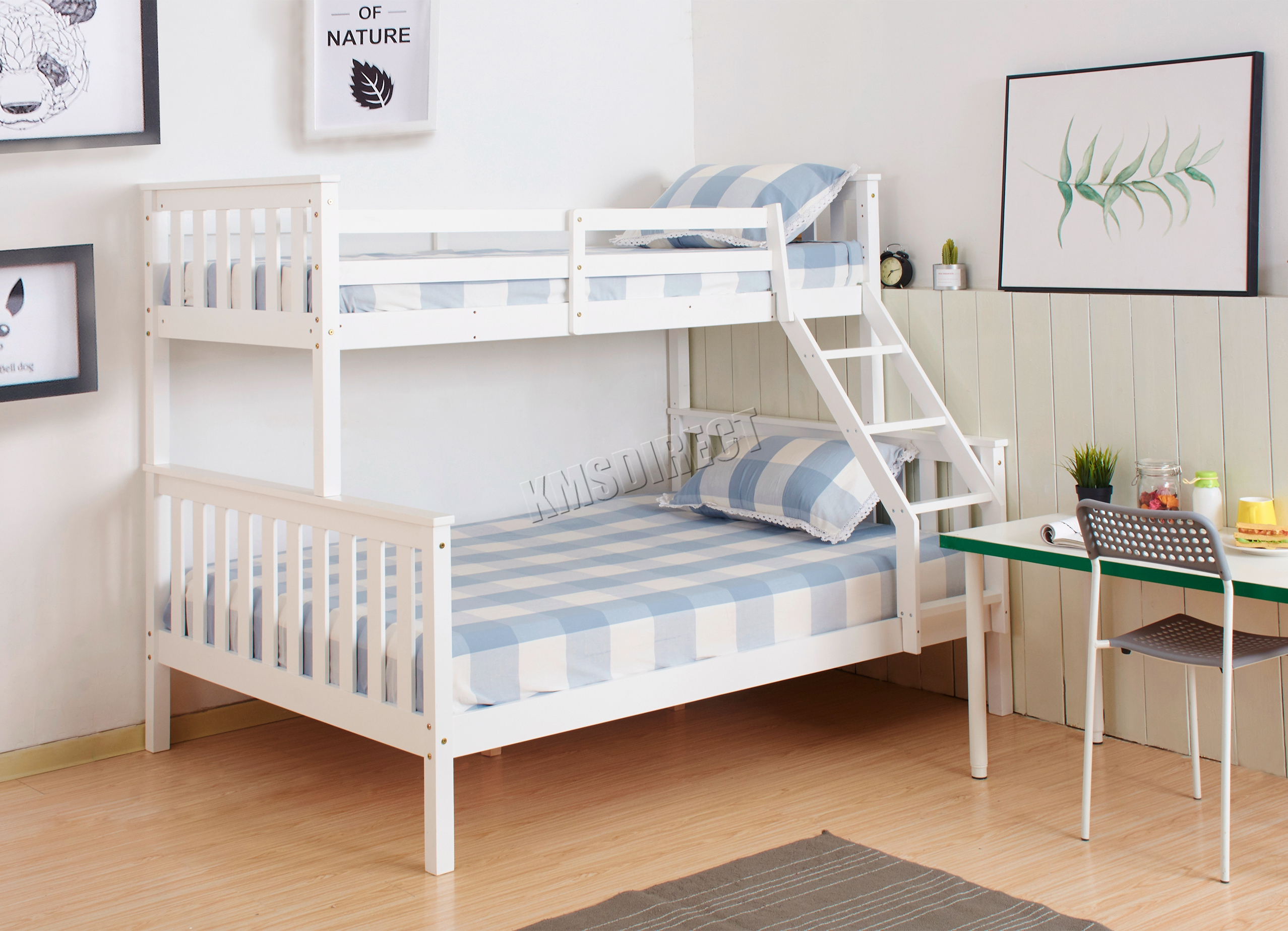 foxhunter bunk bed wooden frame children kids triple 11925 | bunkbed wood triple nm fhbbw02 white kmswm0001