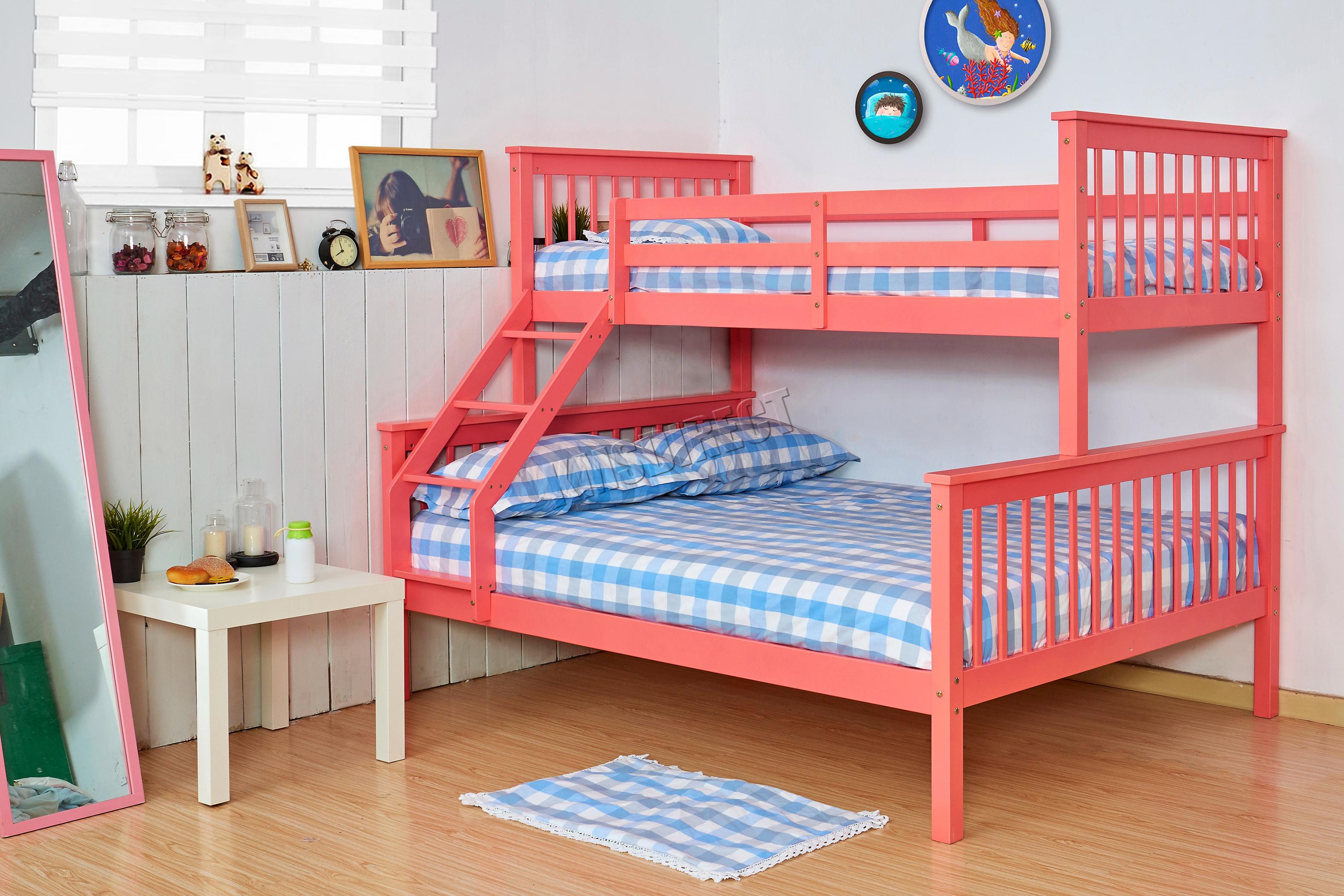 Letto A Castello Triplo Per Bambini : Foxhunter a castello letto cornice in legno bambini triplo sleeper