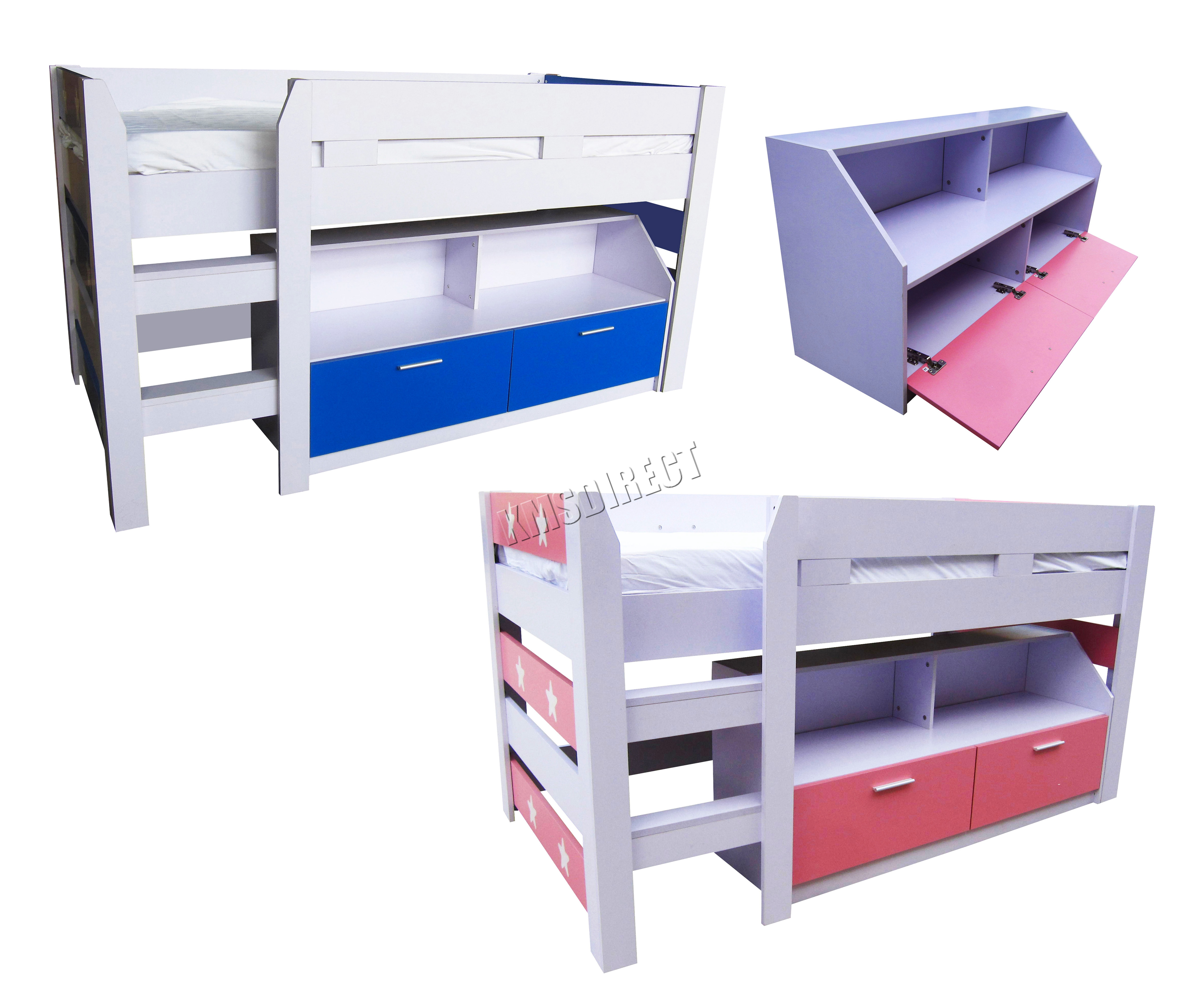 Foxhunter Mdf Kids 3ft Mid Sleeper Cabin Bunk Bed Wooden With Book