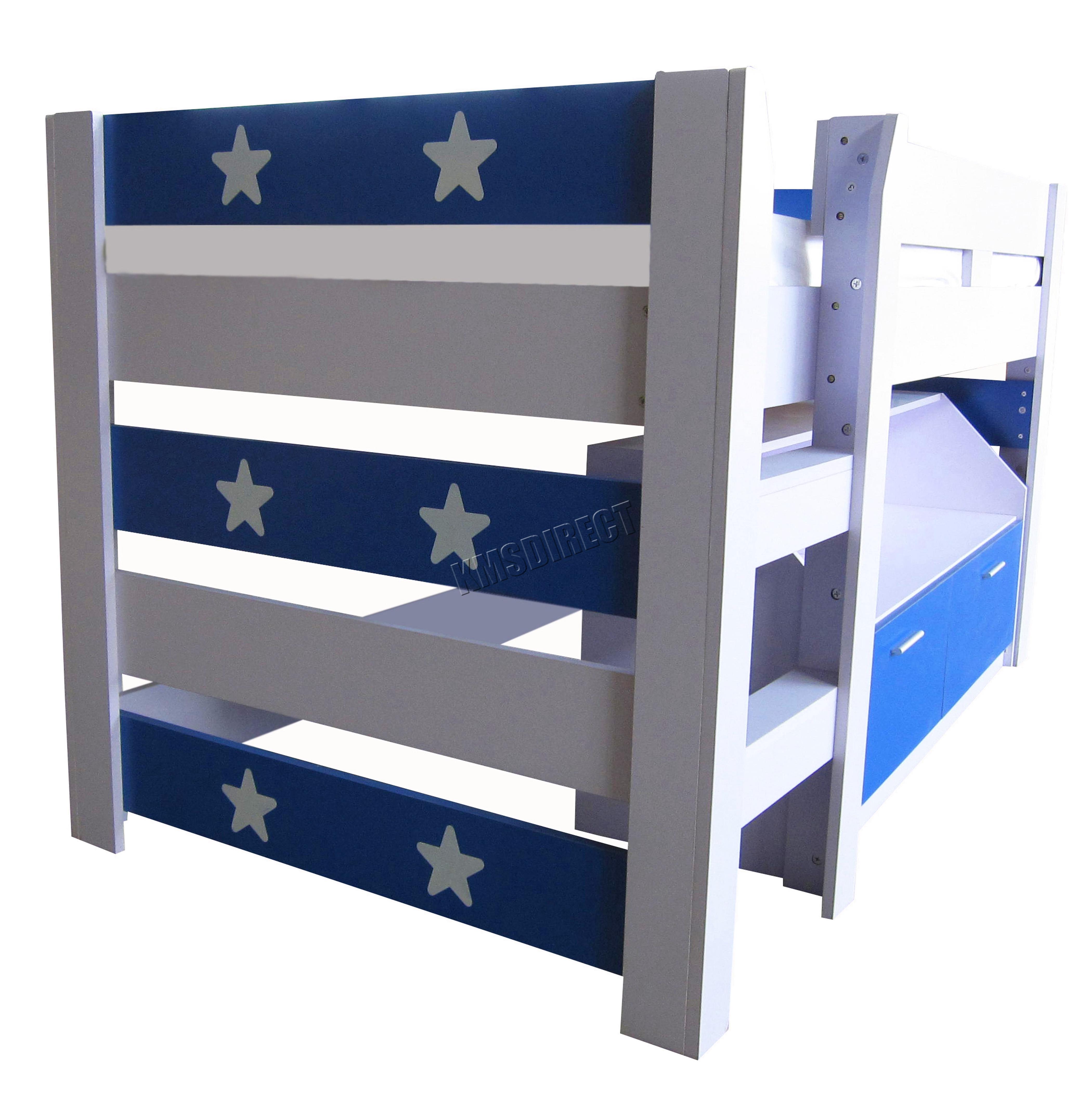 foxhunter mdf kids 3ft mid sleeper cabin bunk bed wooden with book shelf storage ebay. Black Bedroom Furniture Sets. Home Design Ideas