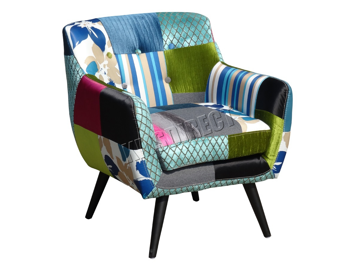 Westwood patchwork chair fabric vintage tub armchair seat for Latest sitting room chair
