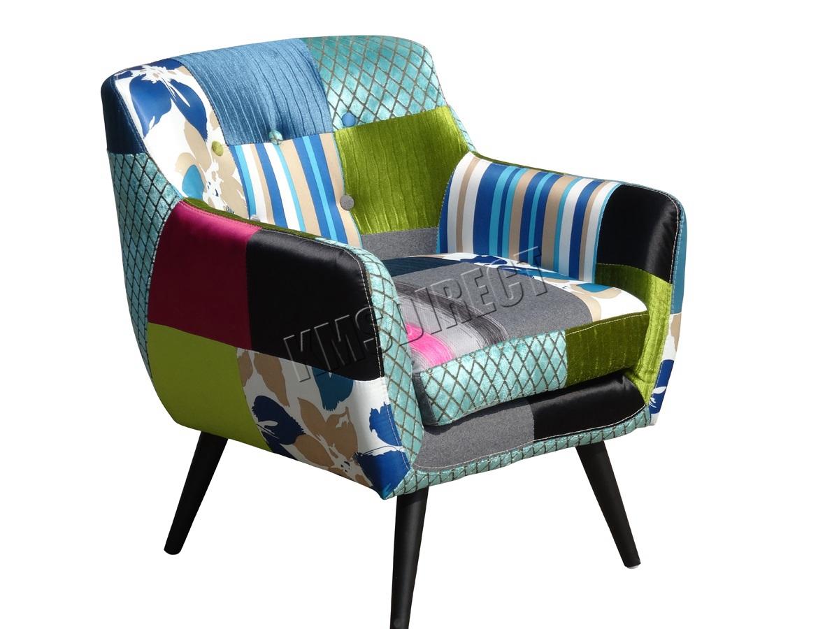 Elegant Sentinel WestWood Patchwork Chair Fabric Vintage Tub Armchair Seat Living  Room PC029 New