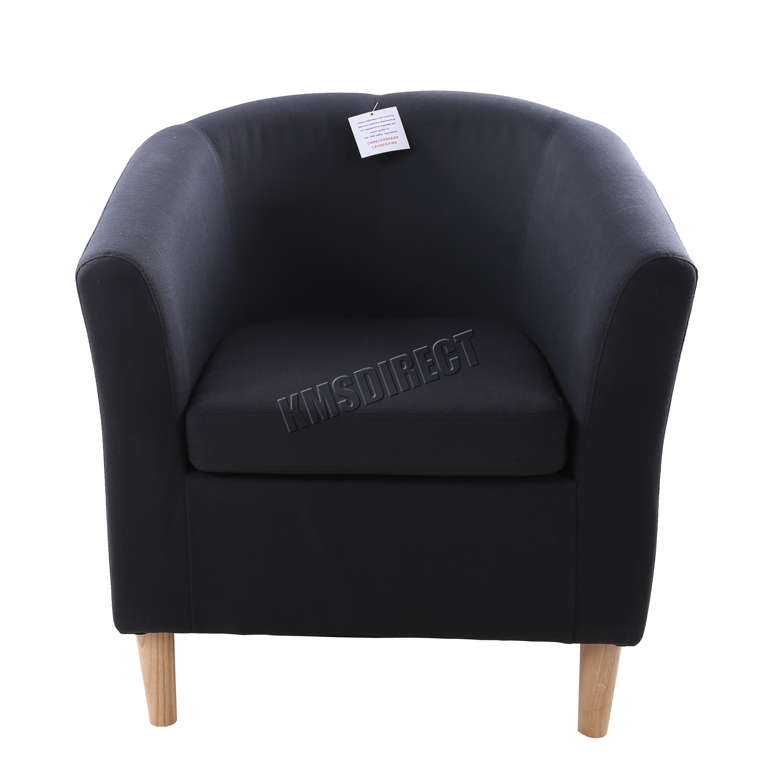 FoxHunter Linen Fabric Tub Chair Armchair Dining Living Room Lounge ...