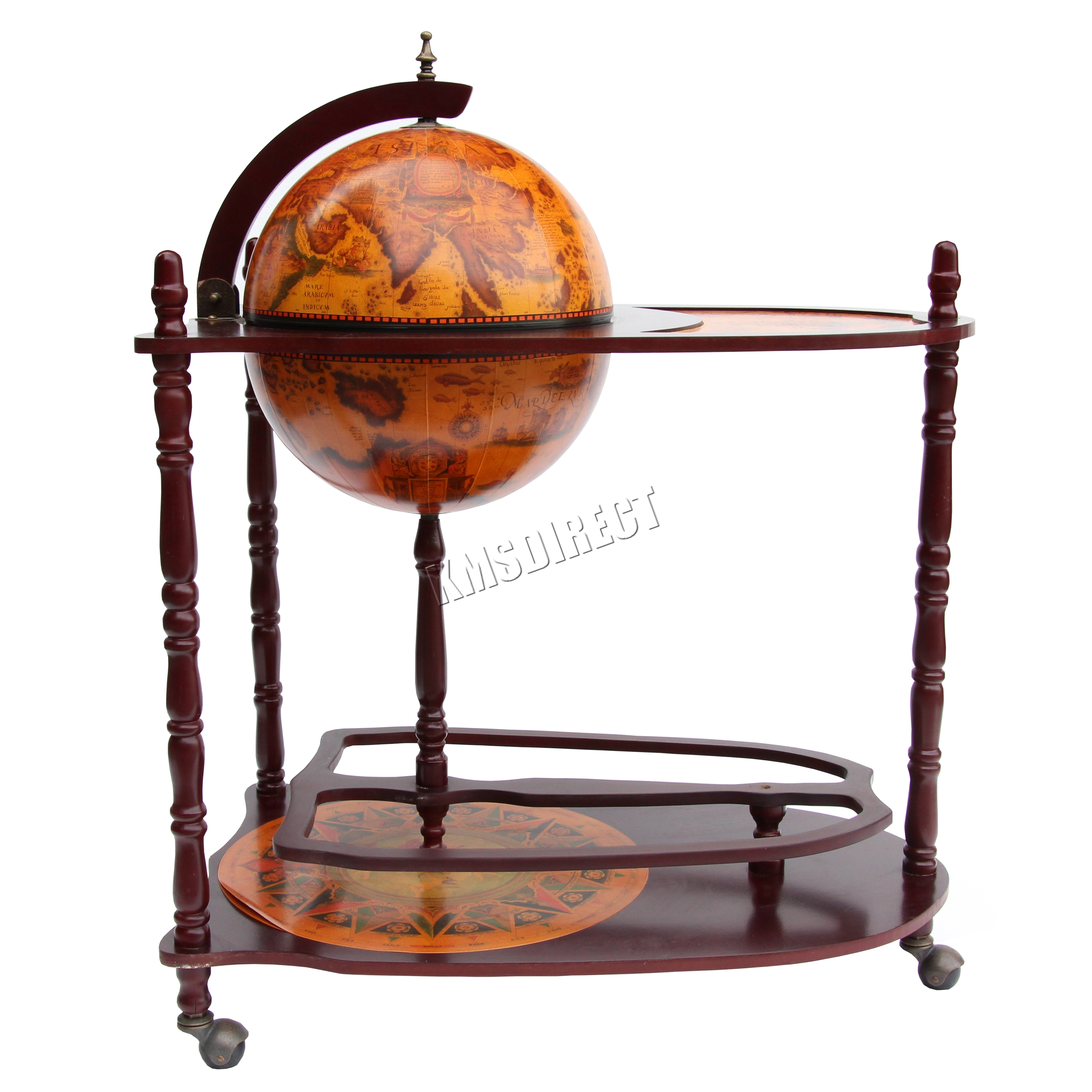 Exceptional Sentinel FoxHunter Globe Shaped Mini Bar Trolley With Table Drinks Cabinet  Bottles 330MM