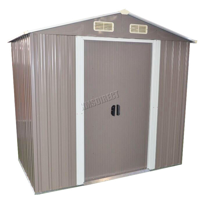 Foxhunter garden shed strong metal apex roof outdoor storage free foundation new ebay - Fondation abri jardin pau ...