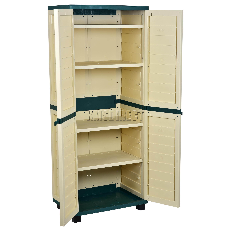 Sentinel Starplast Outdoor Plastic Garden Utility Cabinet With 4 Shelves Storage Green