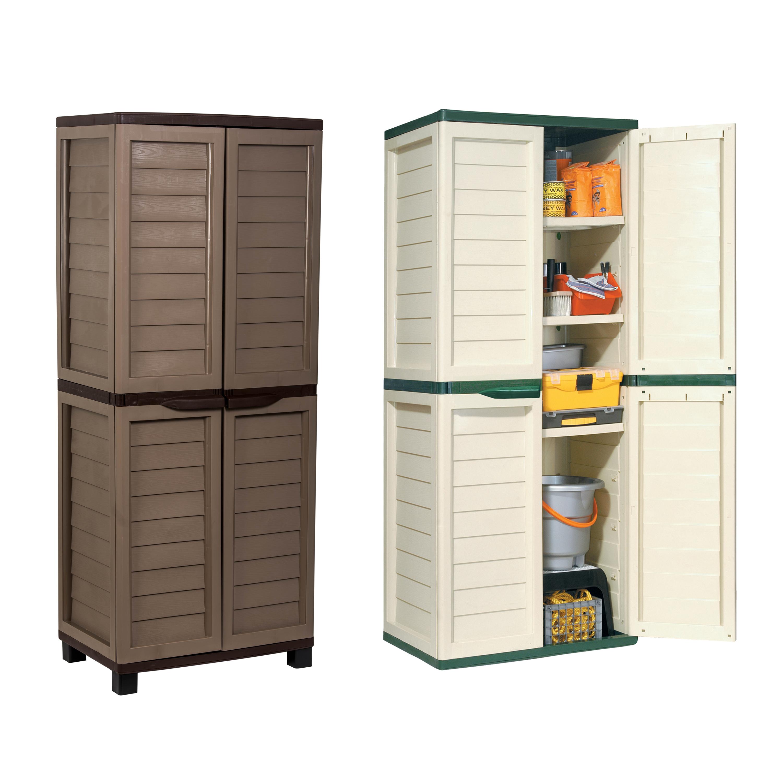 Starplast Outdoor Plastic Garden Utility Cabinet With 4 Shelves Storage Garage Ebay