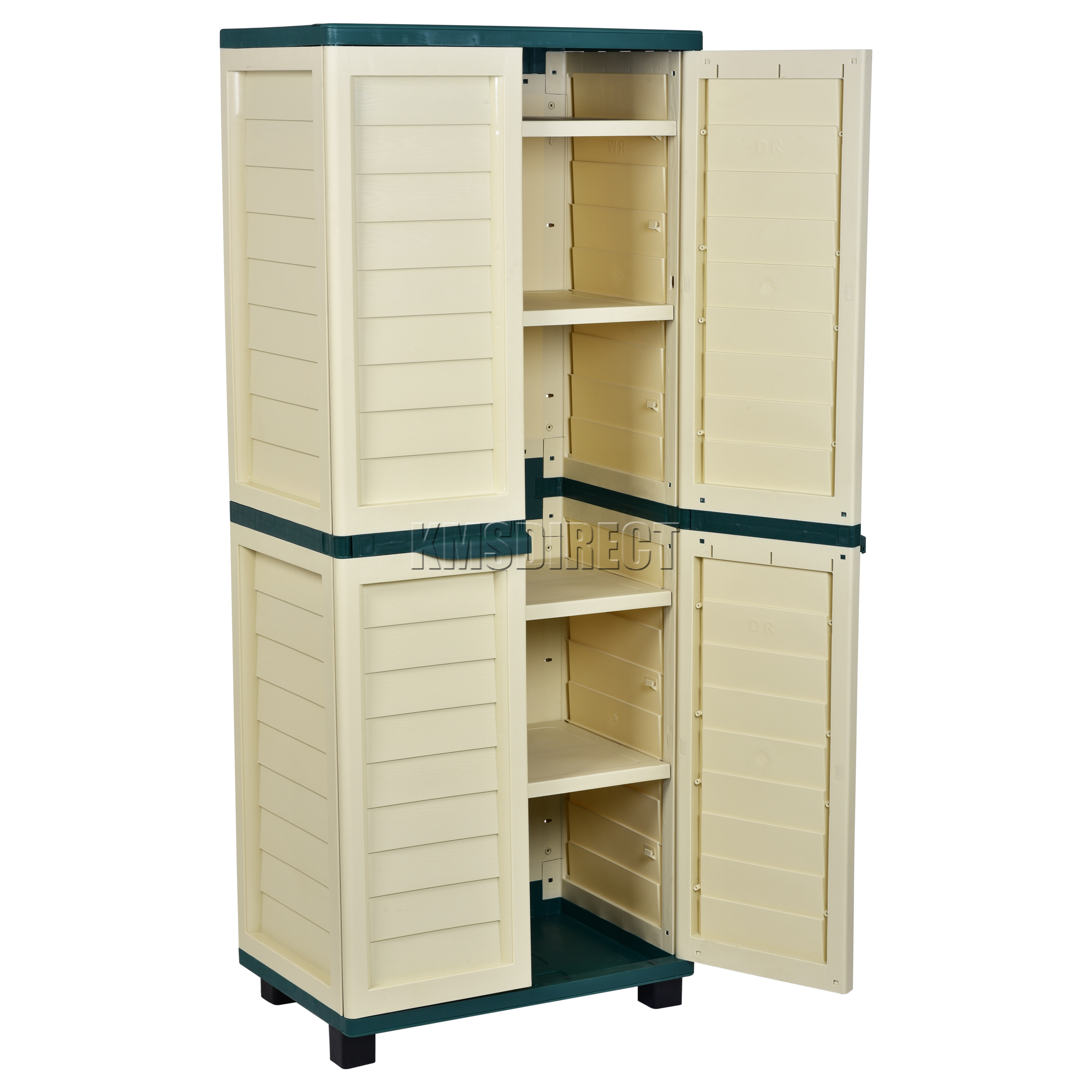 Delightful Sentinel Starplast Outdoor Plastic Garden Utility Cabinet With 4 Shelves  Storage Garage