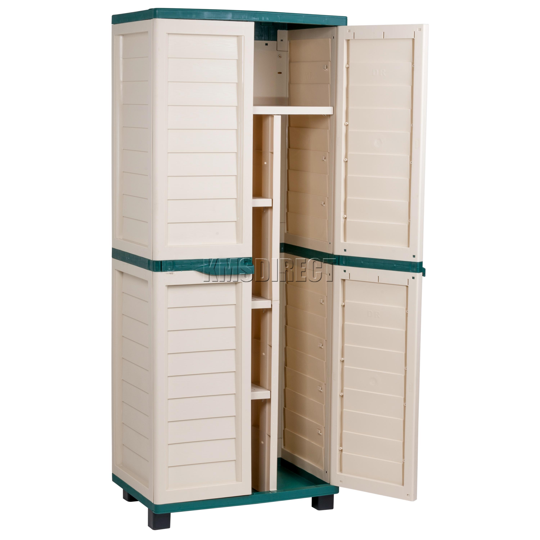 Sentinel Starplast Outdoor Plastic Garden Utility Cabinet With Partition  Storage Green