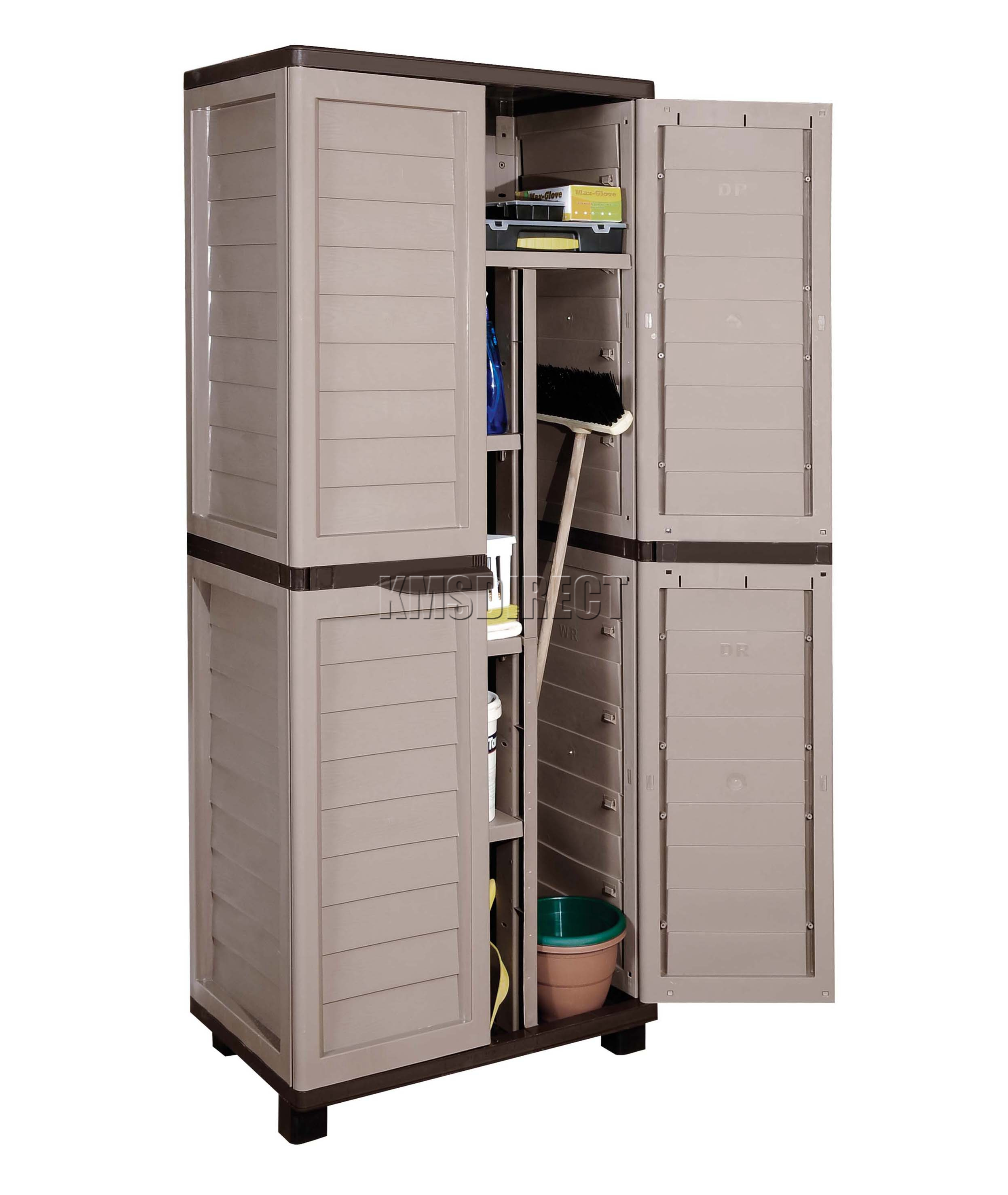 Tips For Buying Garage Utility Cabinets: Starplast Outdoor Plastic Garden Utility Cabinet With Partition Storage Garage