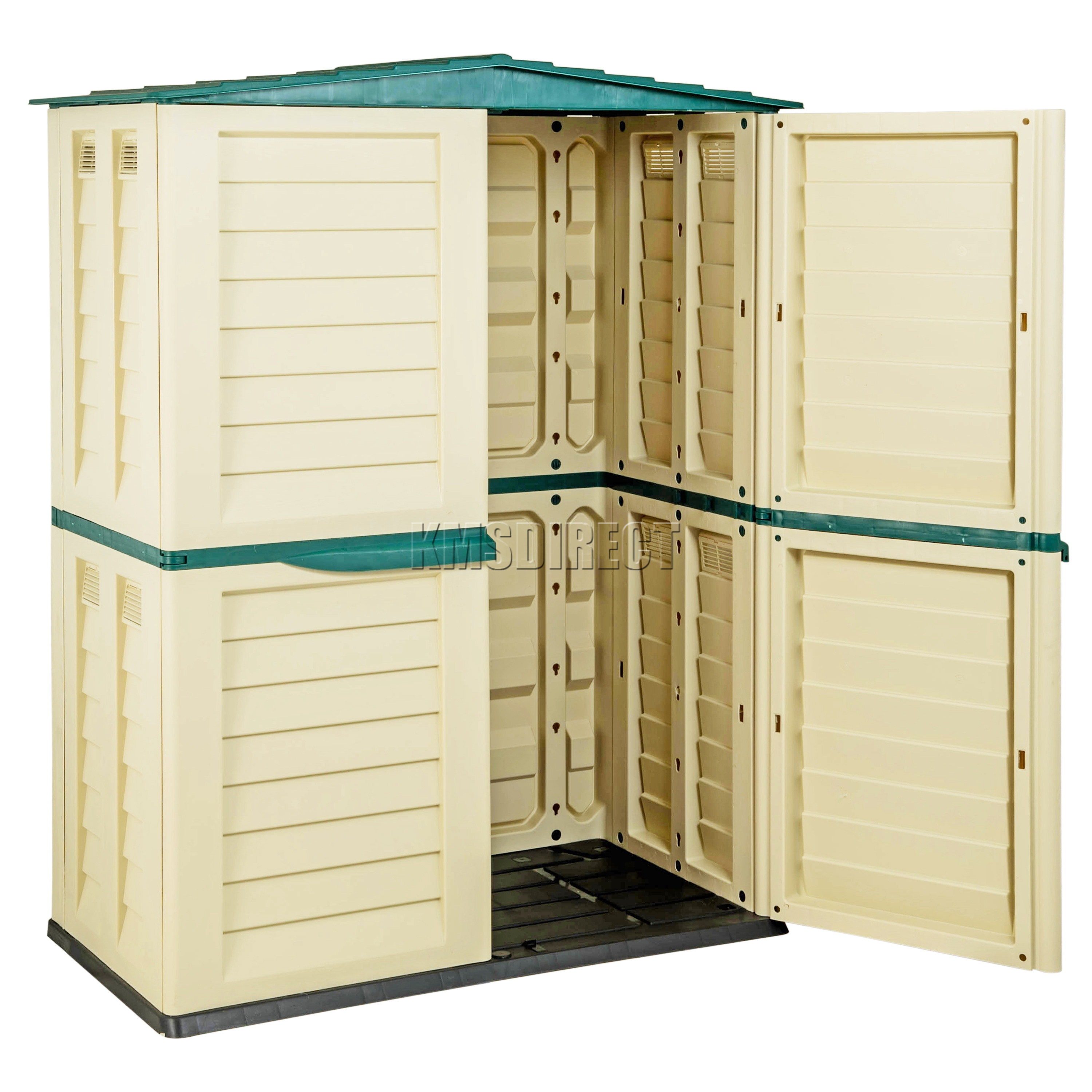 Starplast outdoor plastic garden tall shed box storage for Attaching shelves to plastic shed