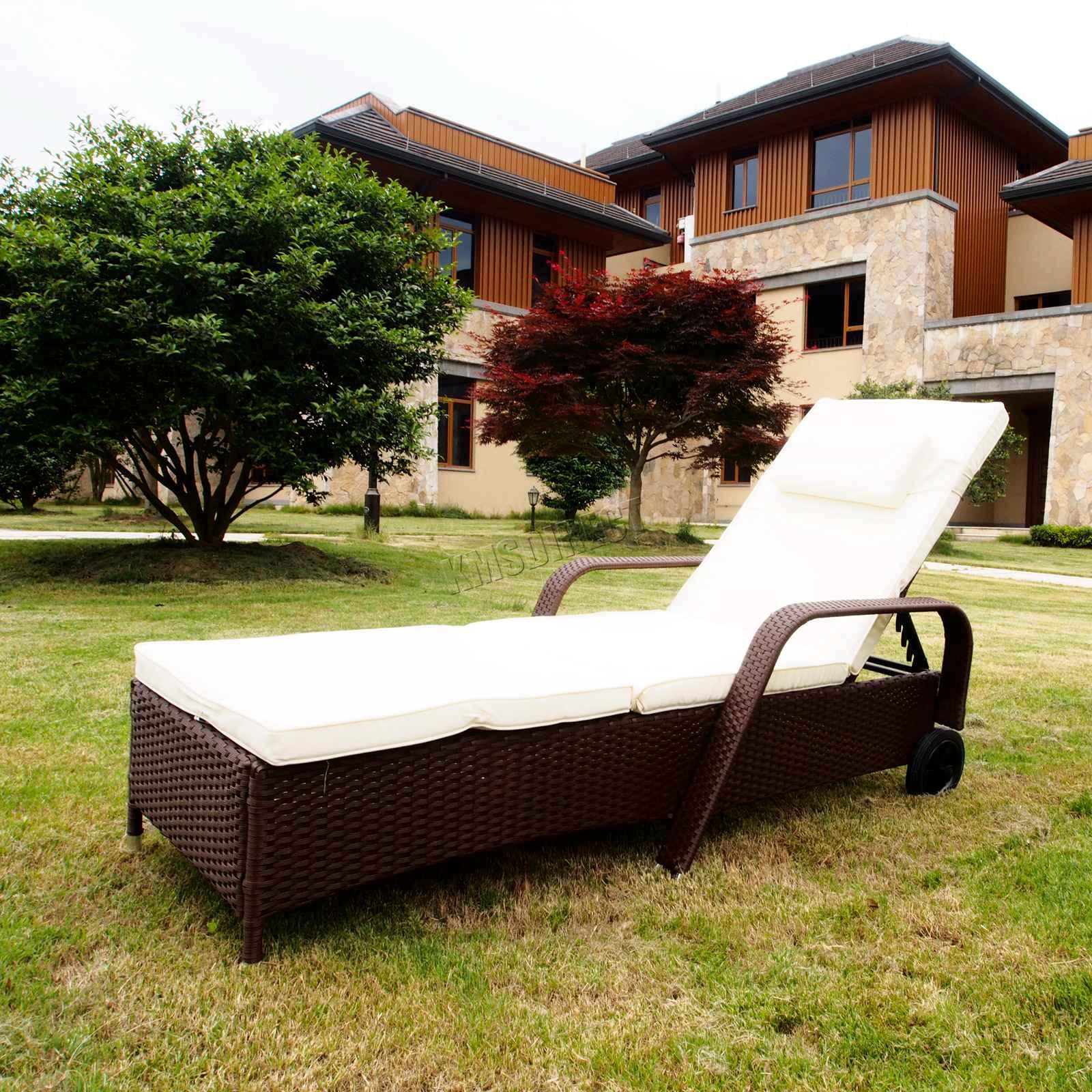 Détails sur Westwood Rotin Jour Chaise Inclinable Soleil Lit Longue Osier  Jardin Terrasse