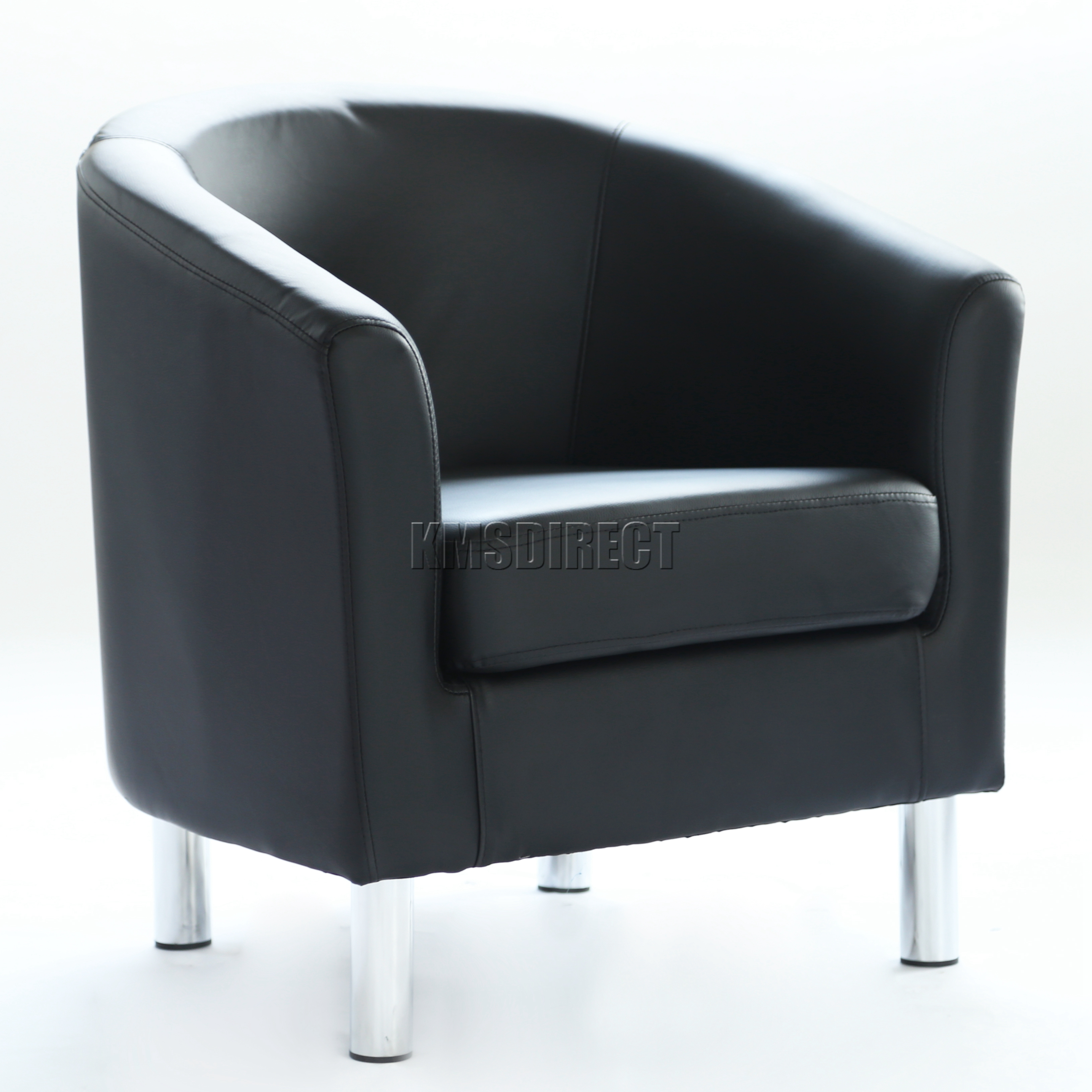 FoxHunter Modern Tub Chair Armchair PU Faux Leather With Chrome - Tub chairs leather