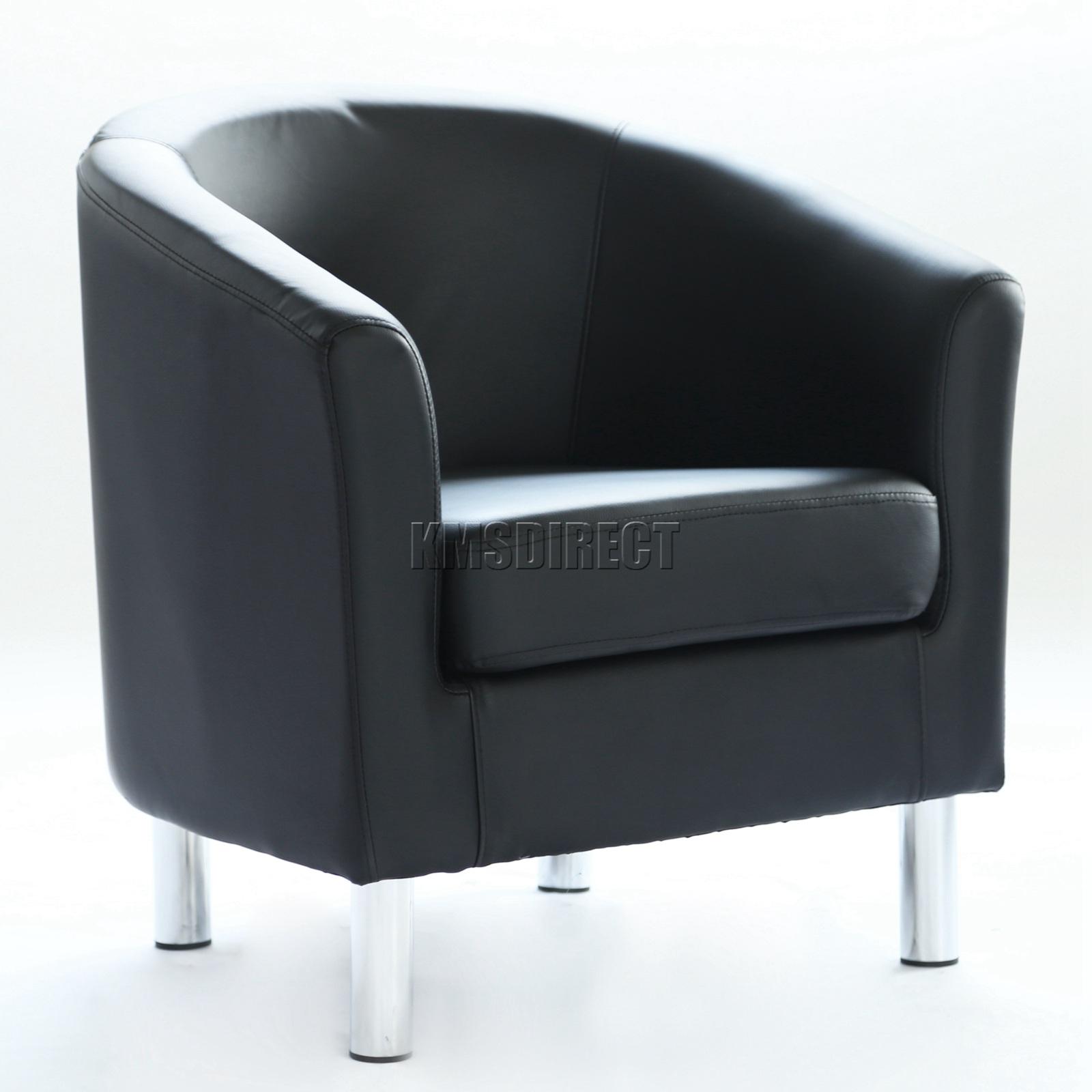 WestWood Modern Tub Chair Armchair PU Faux Leather With Chrome Leg ...
