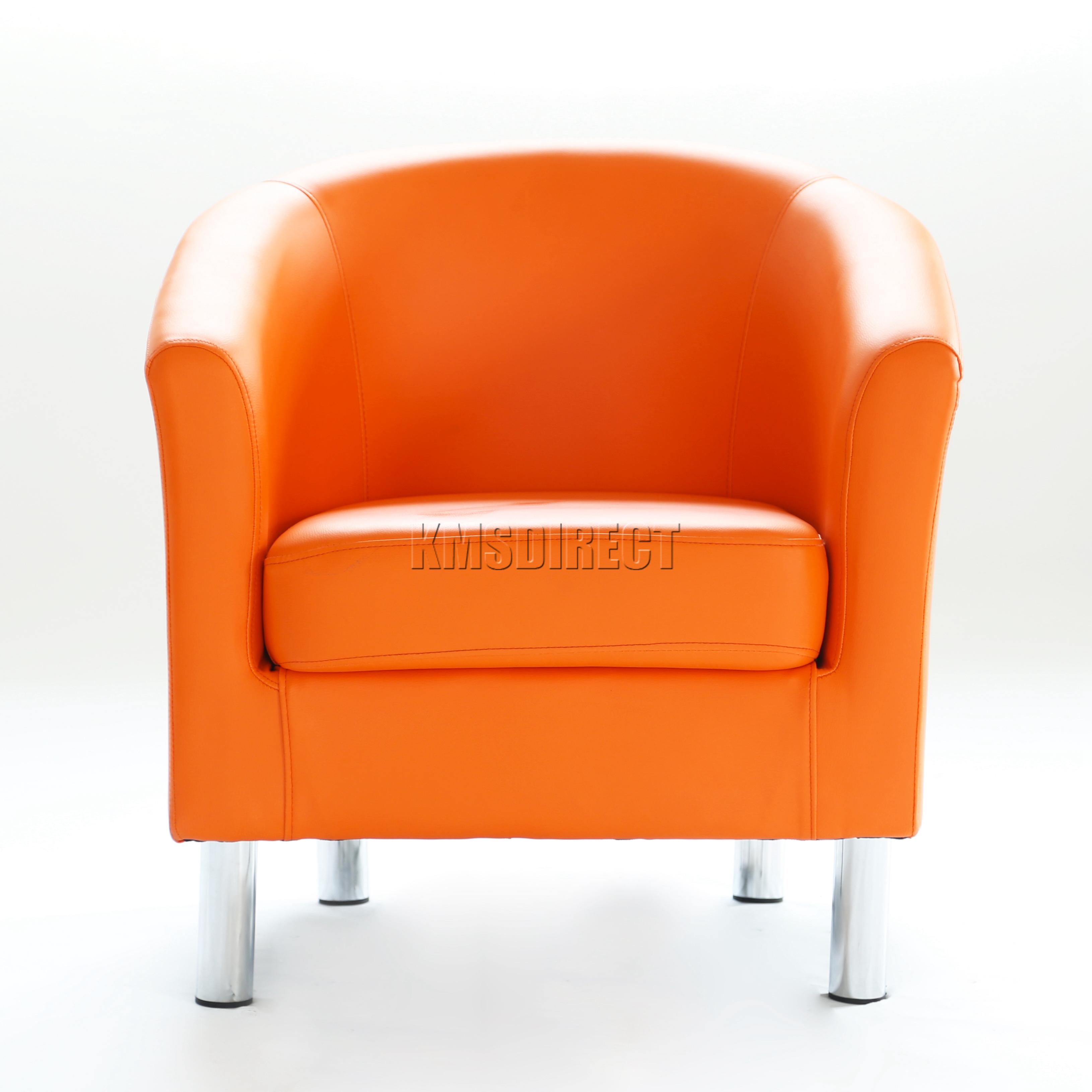 Foxhunter Modern Tub Chair Armchair Pu Faux Leather Chrome Leg