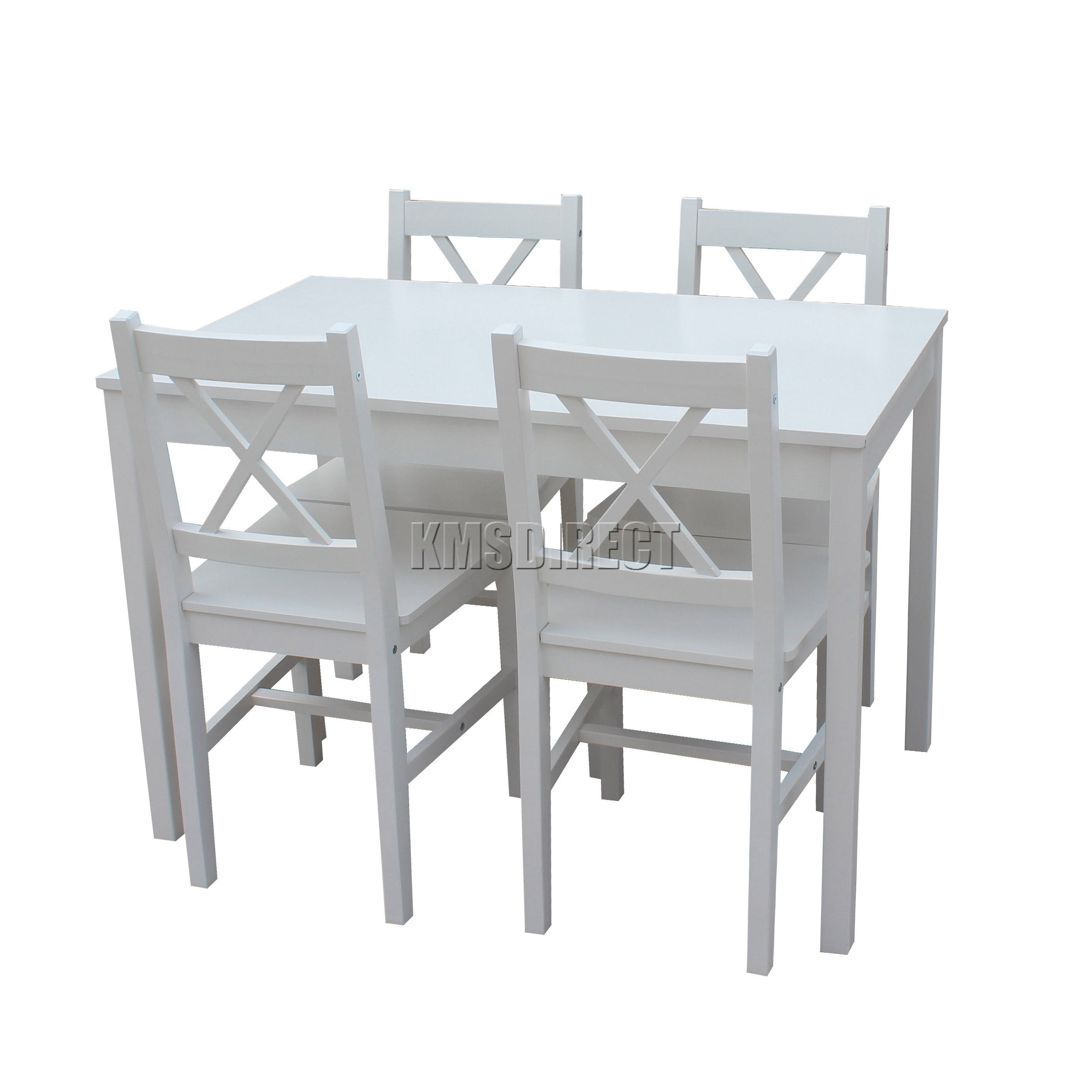 Sentinel Cosmetic Damage Solid Wooden Dining Table With 4 Chairs Set Kitchen White