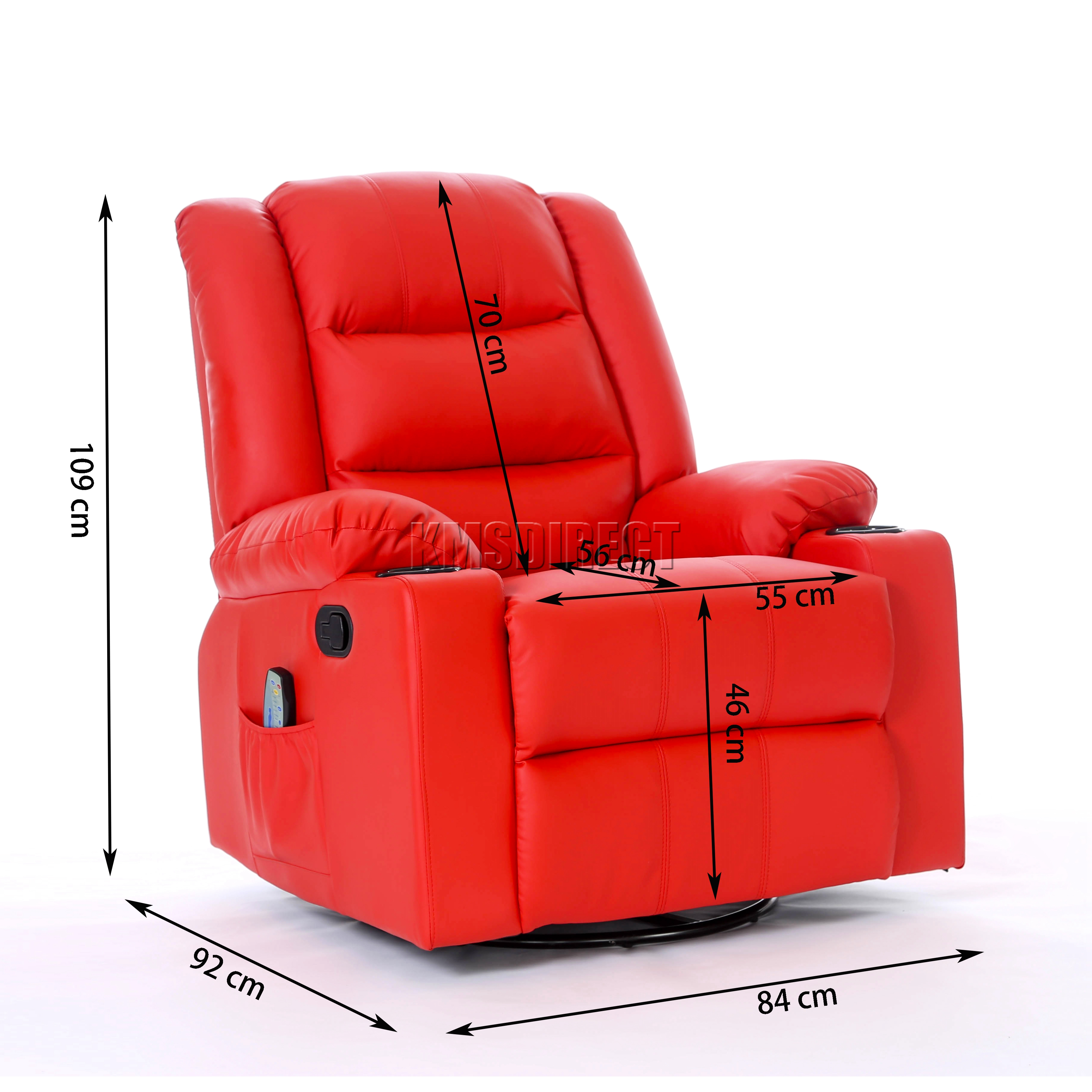 FoxHunter Leather Massage Cinema Recliner Sofa Chair Swivel
