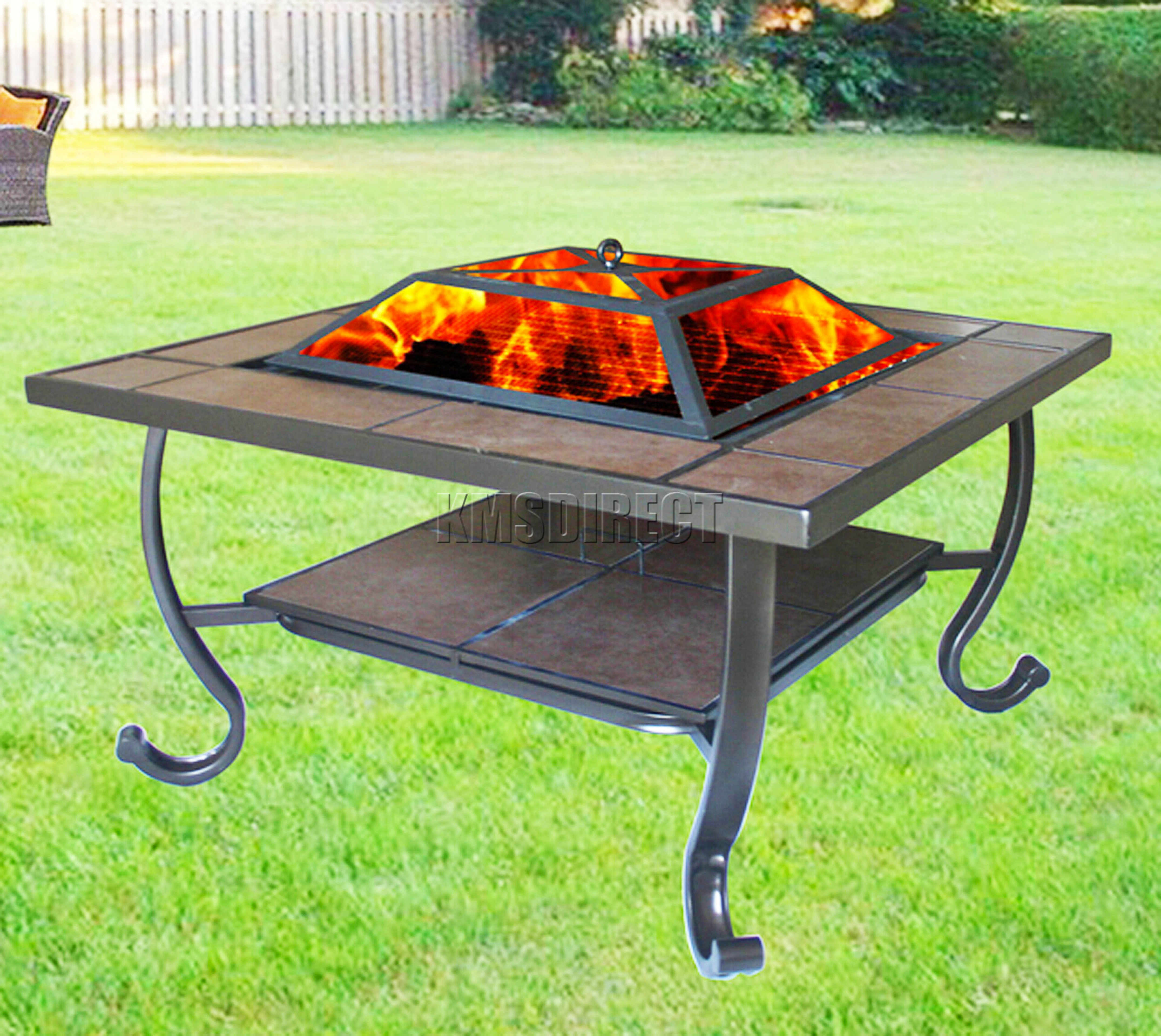 square fire pit table foxhunter garden steel pit firepit brazier square 30218