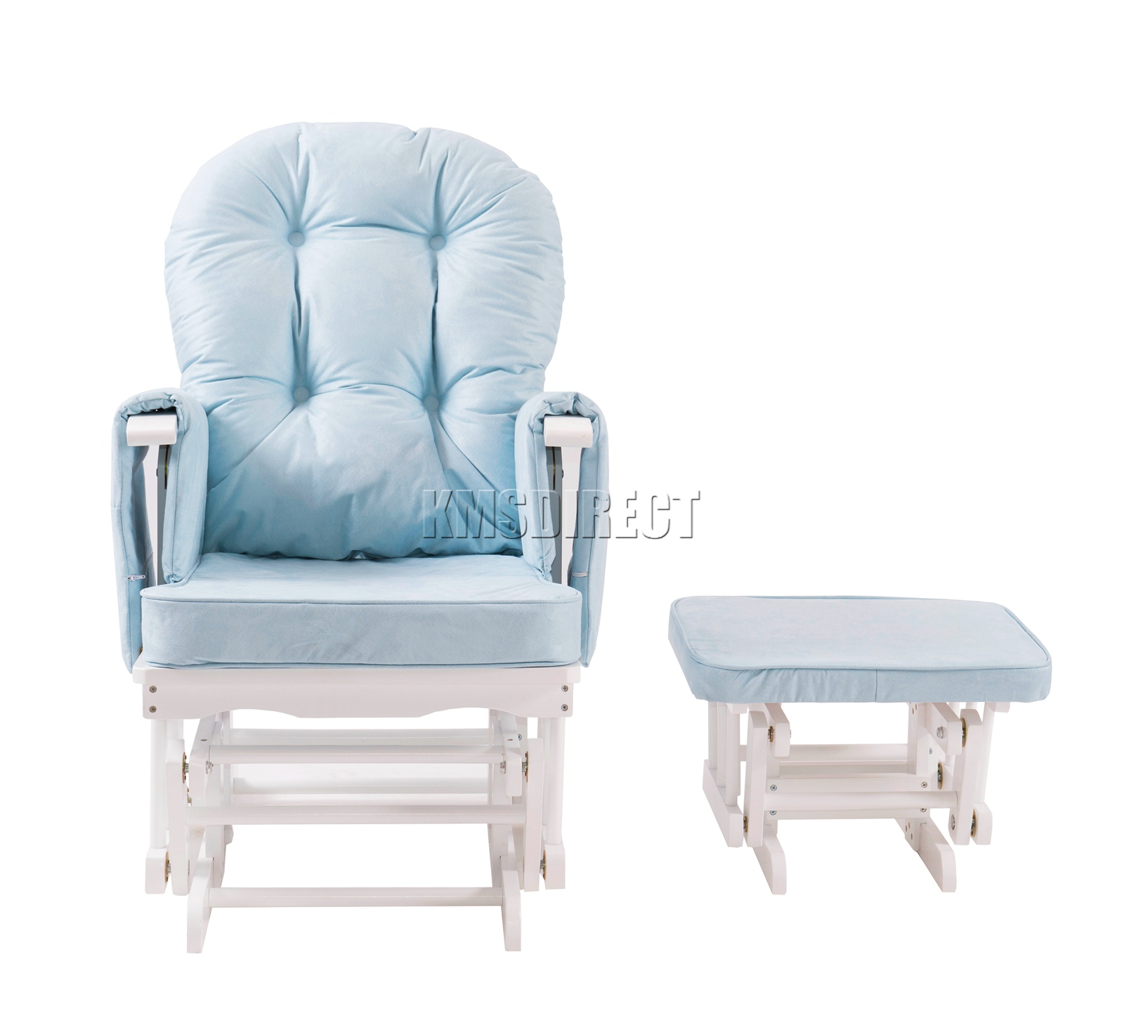 FoxHunter-Nursing-Glider-Maternity-Rocking-Chair-With-Stool-White-Wood-Frame-New miniatuur 14