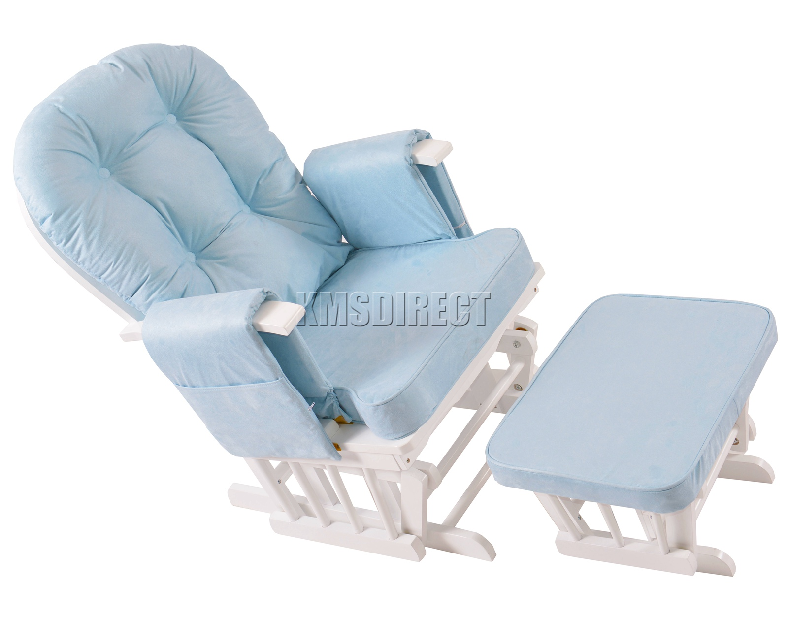 FoxHunter-Nursing-Glider-Maternity-Rocking-Chair-With-Stool-White-Wood-Frame-New miniatuur 15