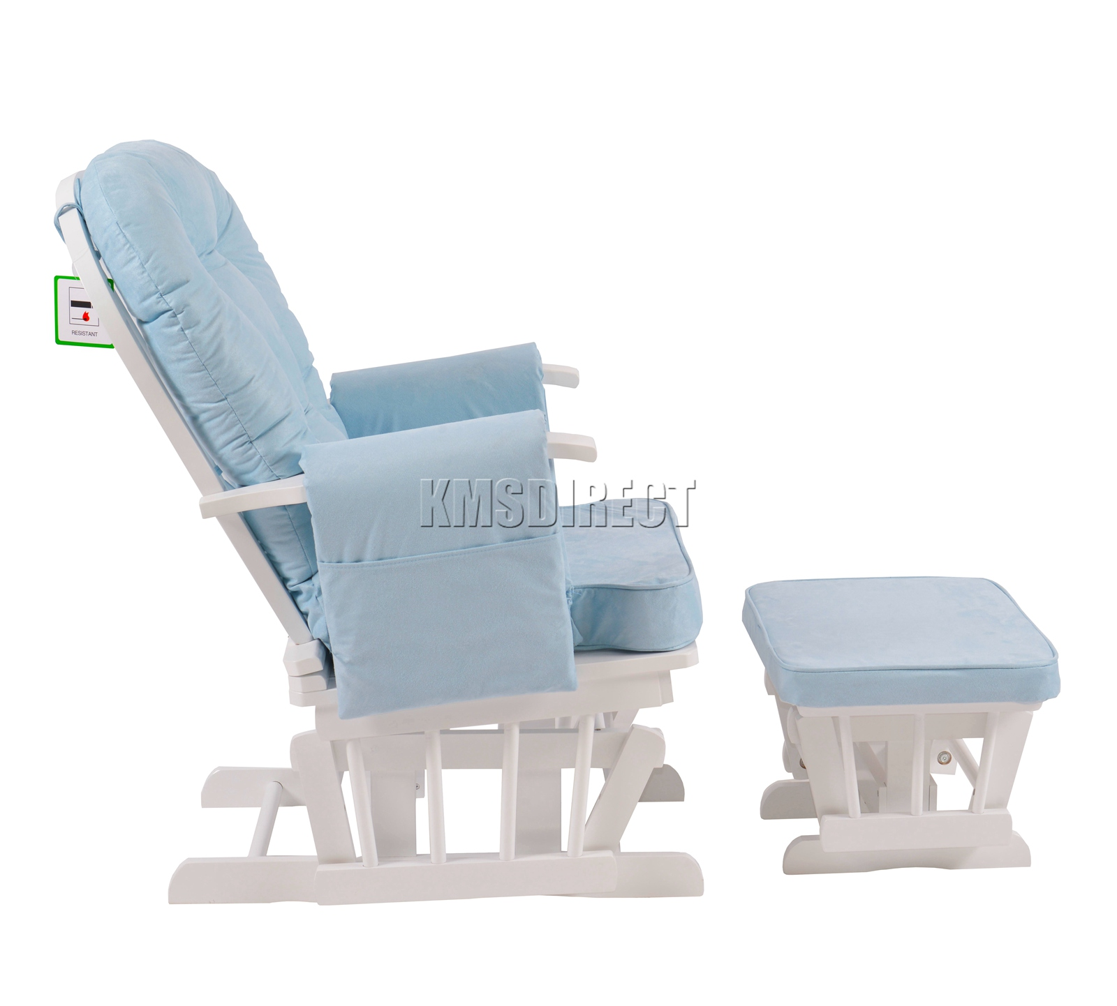 FoxHunter-Nursing-Glider-Maternity-Rocking-Chair-With-Stool-White-Wood-Frame-New miniatuur 16