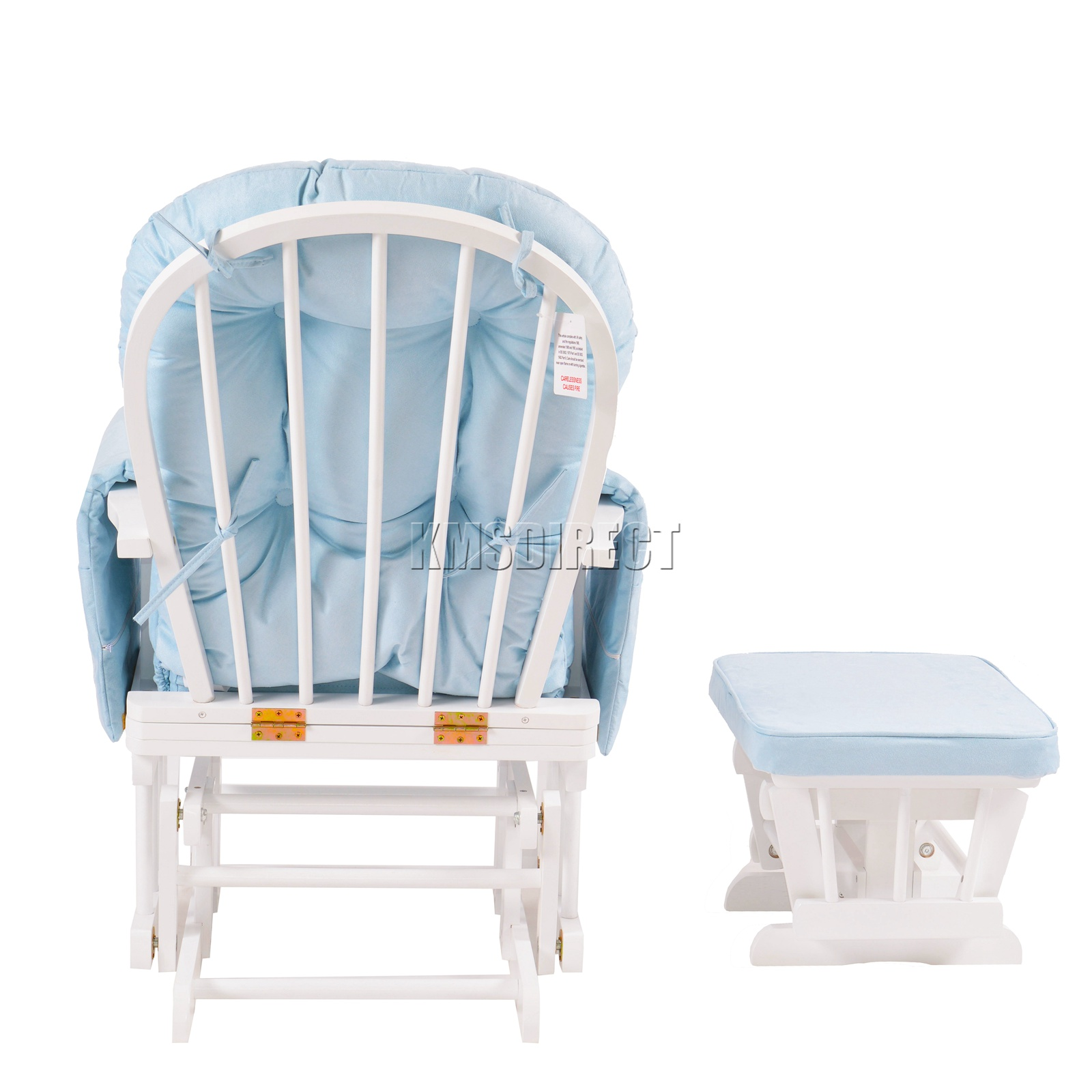 FoxHunter-Nursing-Glider-Maternity-Rocking-Chair-With-Stool-White-Wood-Frame-New miniatuur 17