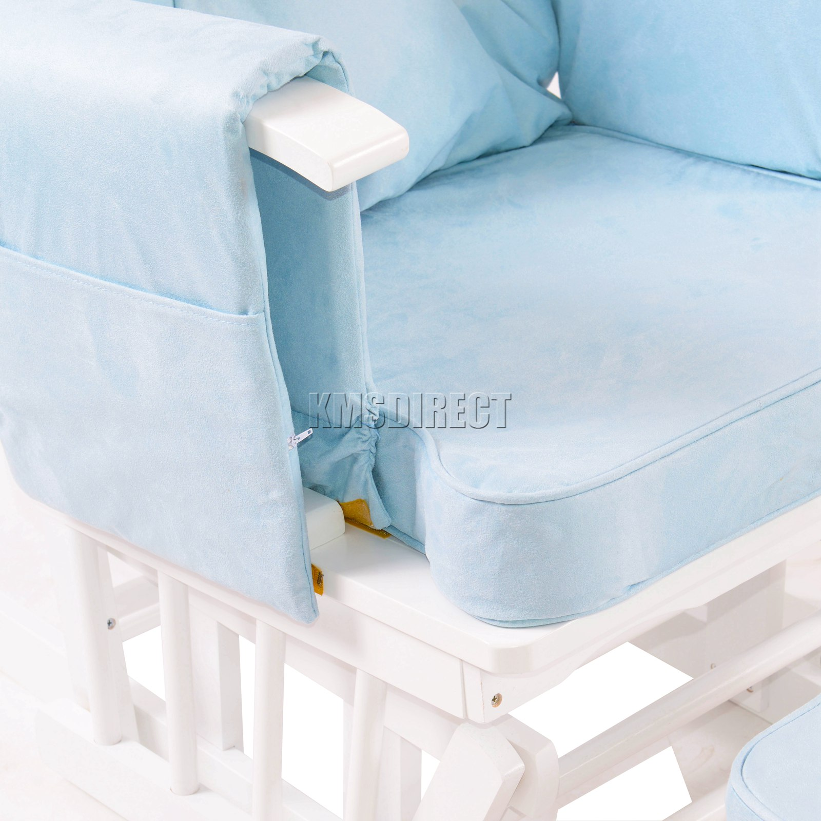 FoxHunter-Nursing-Glider-Maternity-Rocking-Chair-With-Stool-White-Wood-Frame-New miniatuur 21