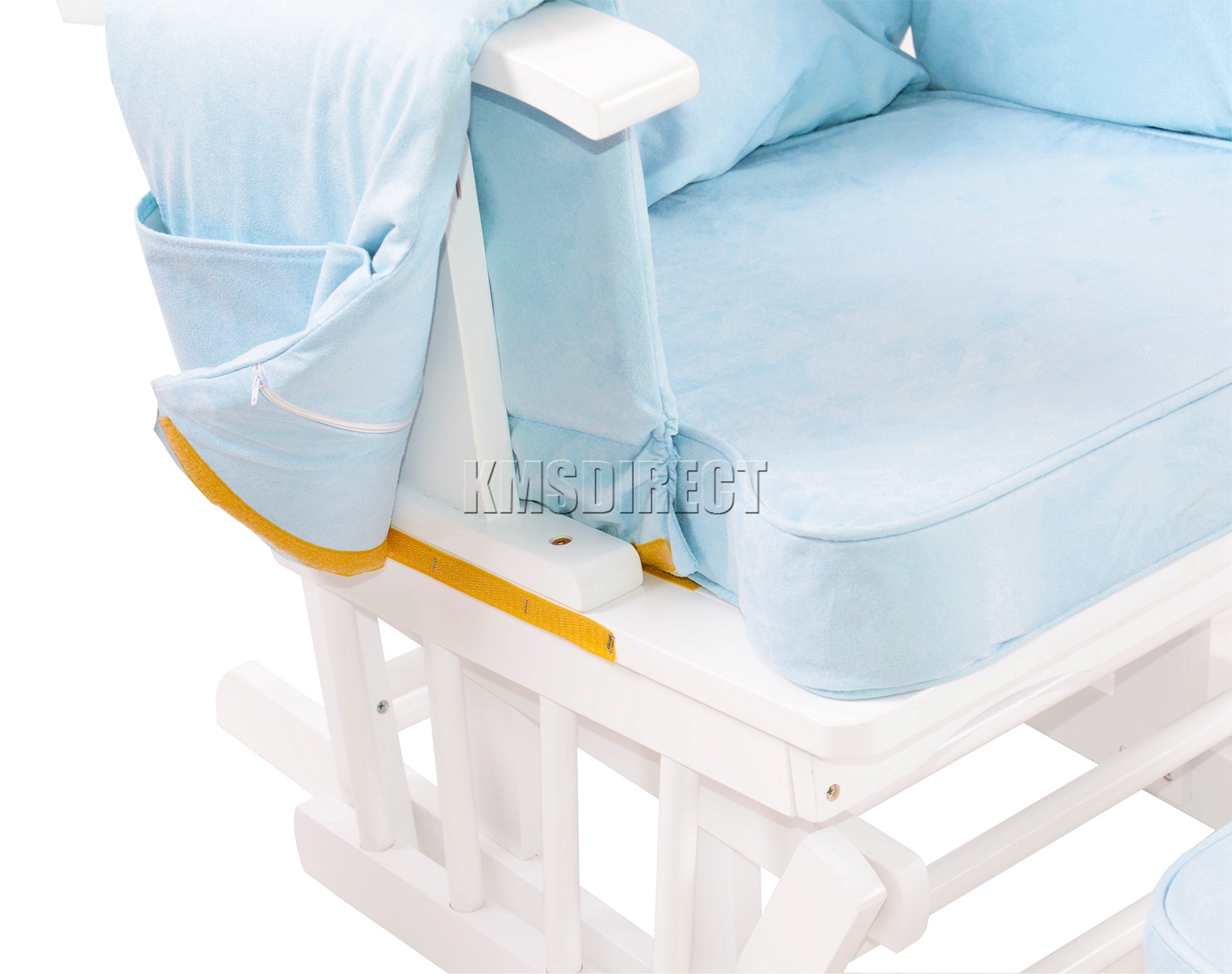 FoxHunter-Nursing-Glider-Maternity-Rocking-Chair-With-Stool-White-Wood-Frame-New miniatuur 22