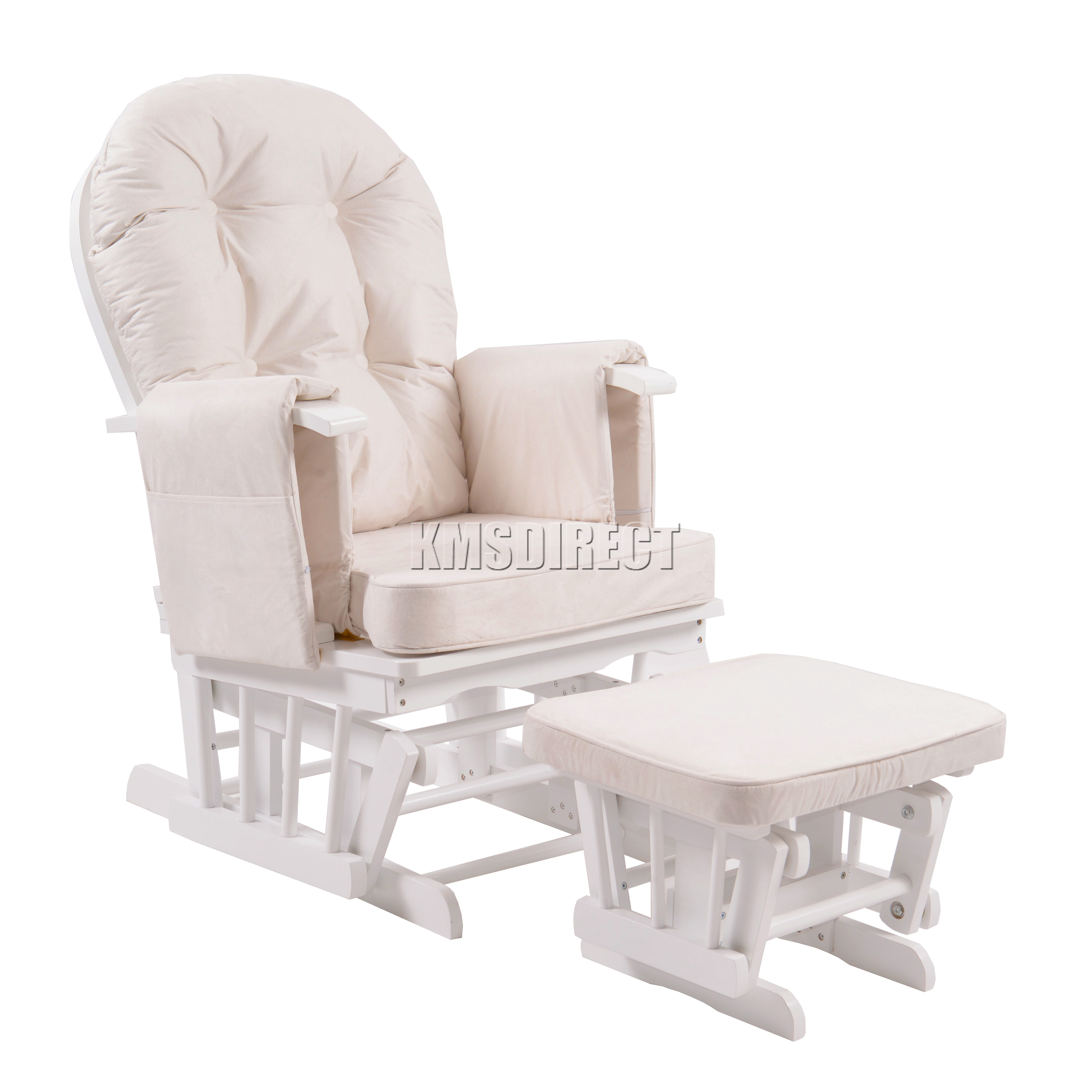 FoxHunter Nursing Glider Maternity Rocking Chair With Stool White