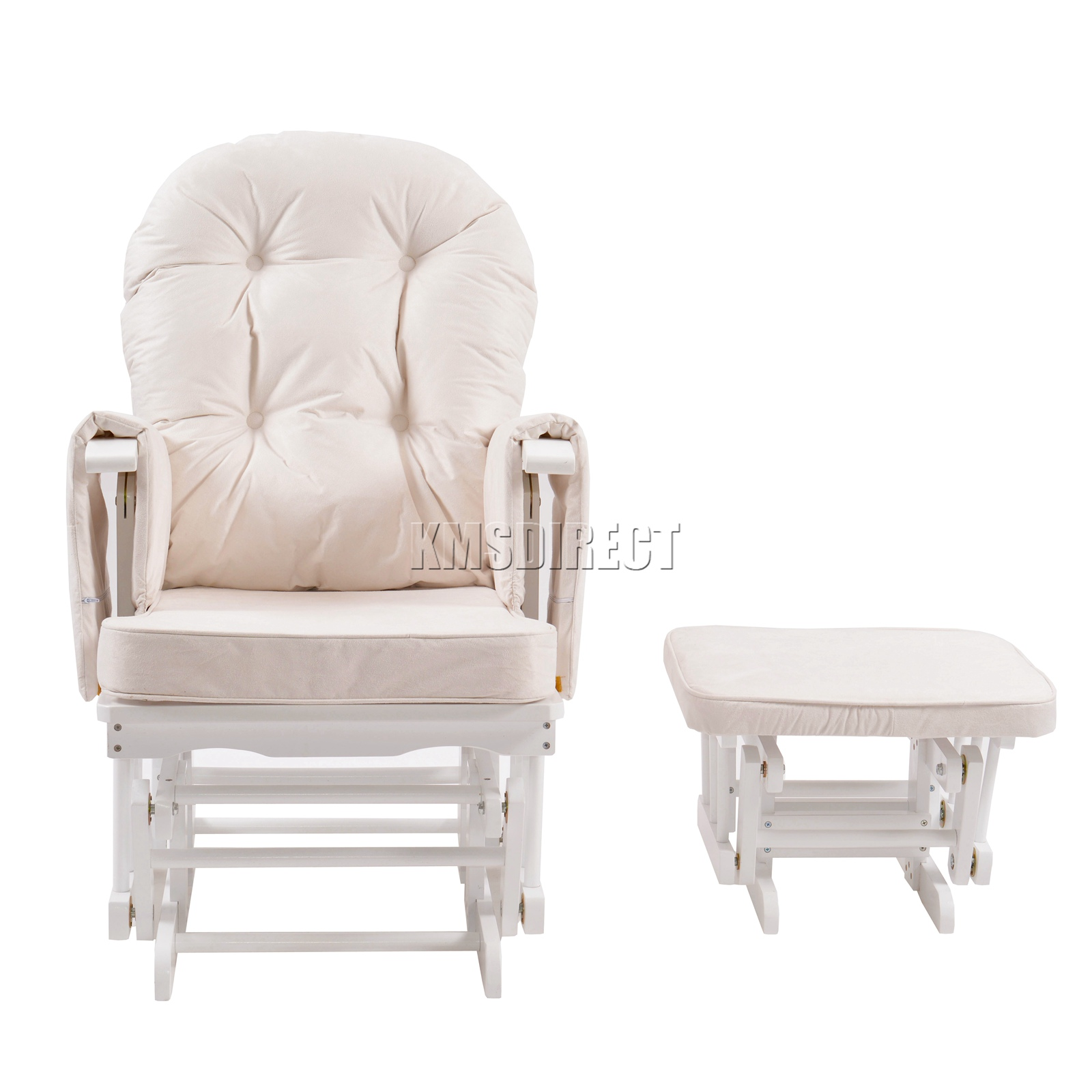 FoxHunter-Nursing-Glider-Maternity-Rocking-Chair-With-Stool-White-Wood-Frame-New miniatuur 25