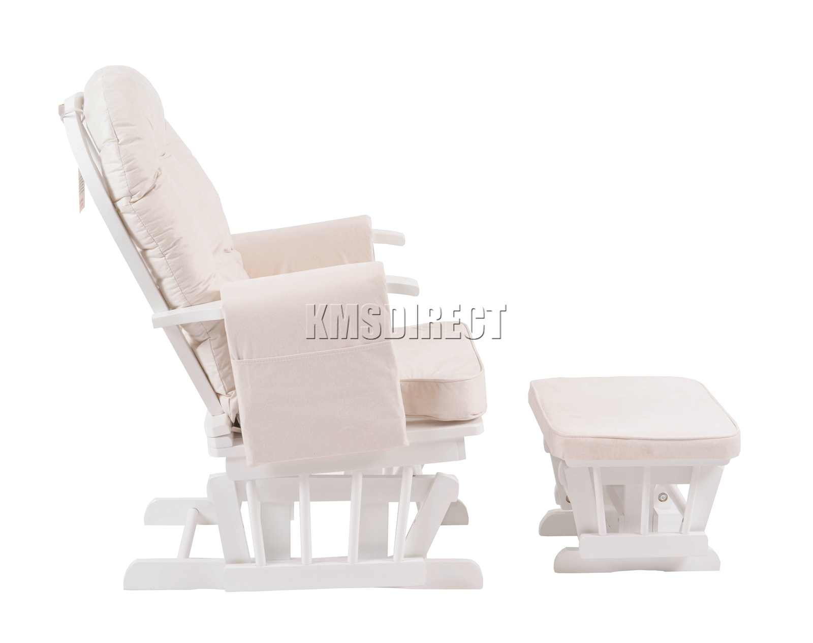 FoxHunter-Nursing-Glider-Maternity-Rocking-Chair-With-Stool-White-Wood-Frame-New miniatuur 26