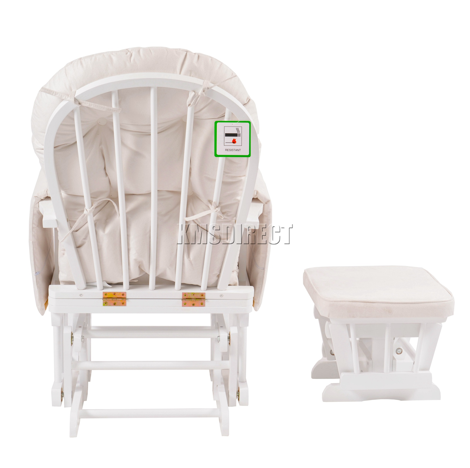 FoxHunter-Nursing-Glider-Maternity-Rocking-Chair-With-Stool-White-Wood-Frame-New miniatuur 28