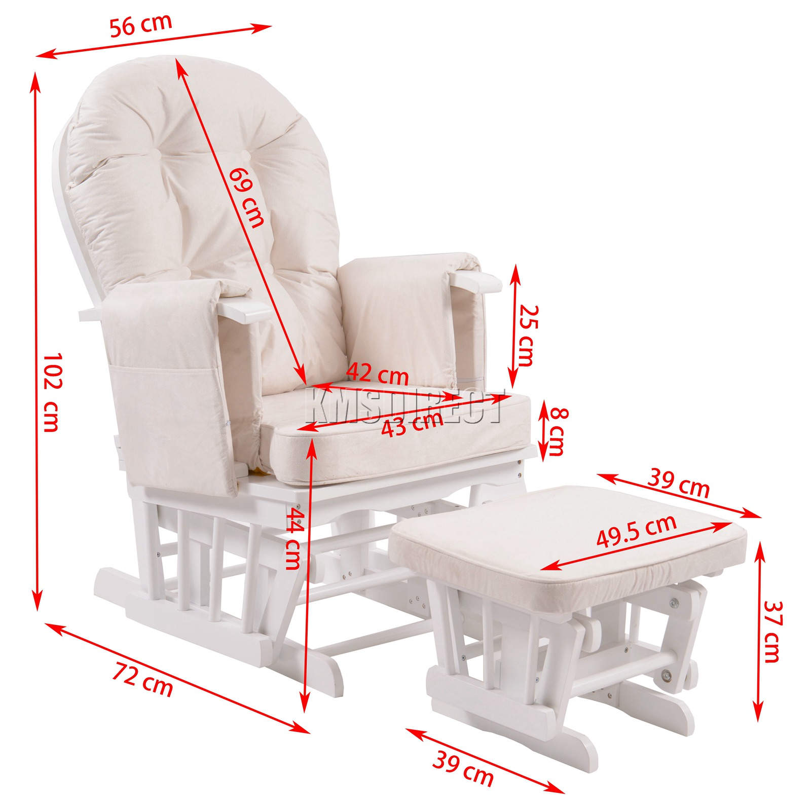 FoxHunter-Nursing-Glider-Maternity-Rocking-Chair-With-Stool-White-Wood-Frame-New miniatuur 29