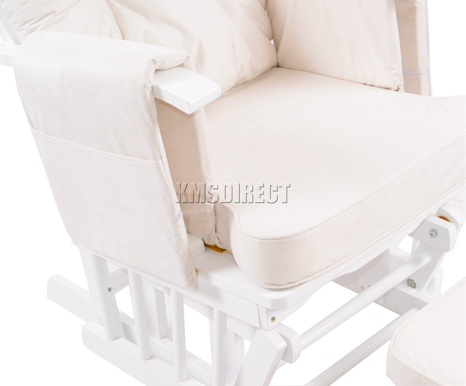 FoxHunter-Nursing-Glider-Maternity-Rocking-Chair-With-Stool-White-Wood-Frame-New miniatuur 32