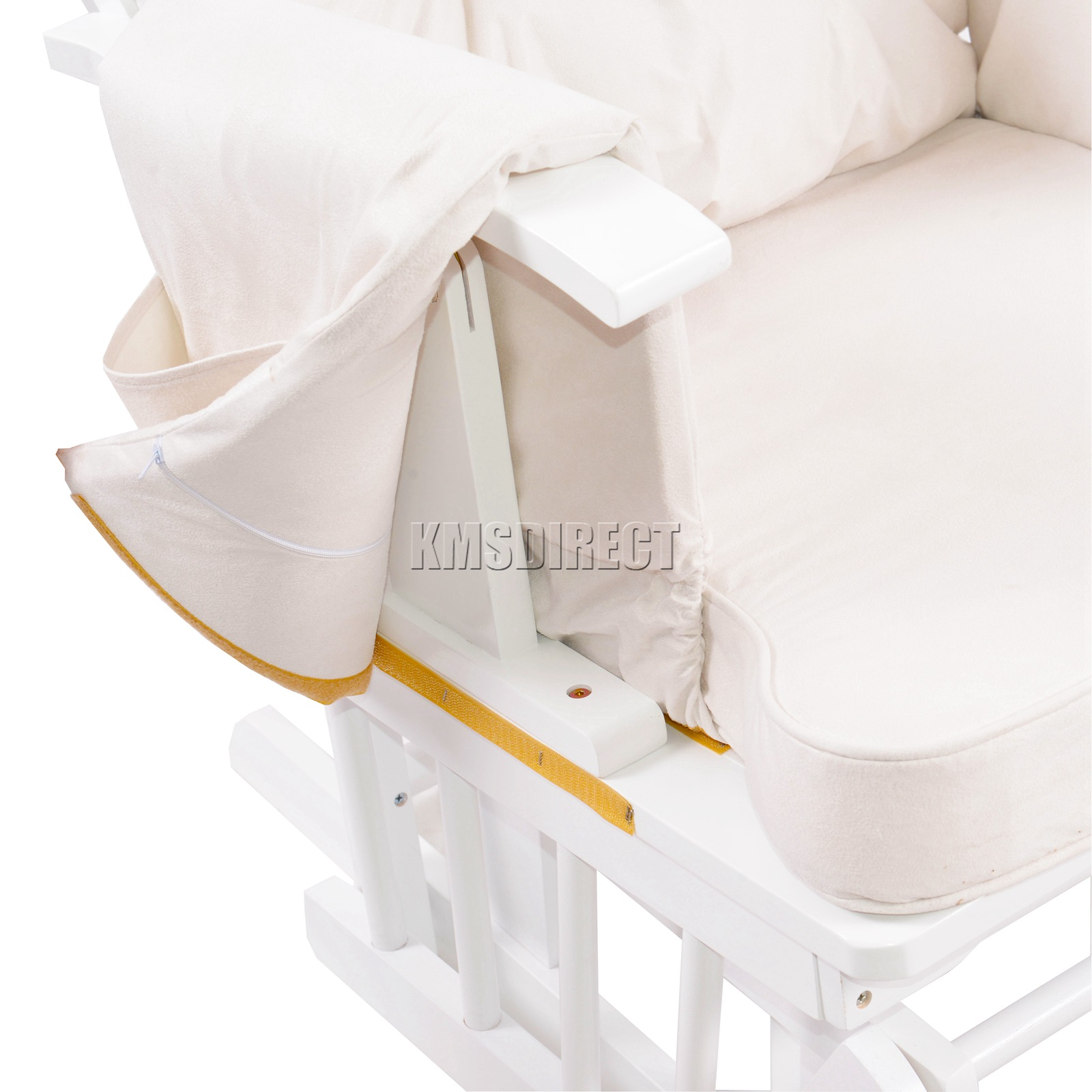 FoxHunter-Nursing-Glider-Maternity-Rocking-Chair-With-Stool-White-Wood-Frame-New miniatuur 33