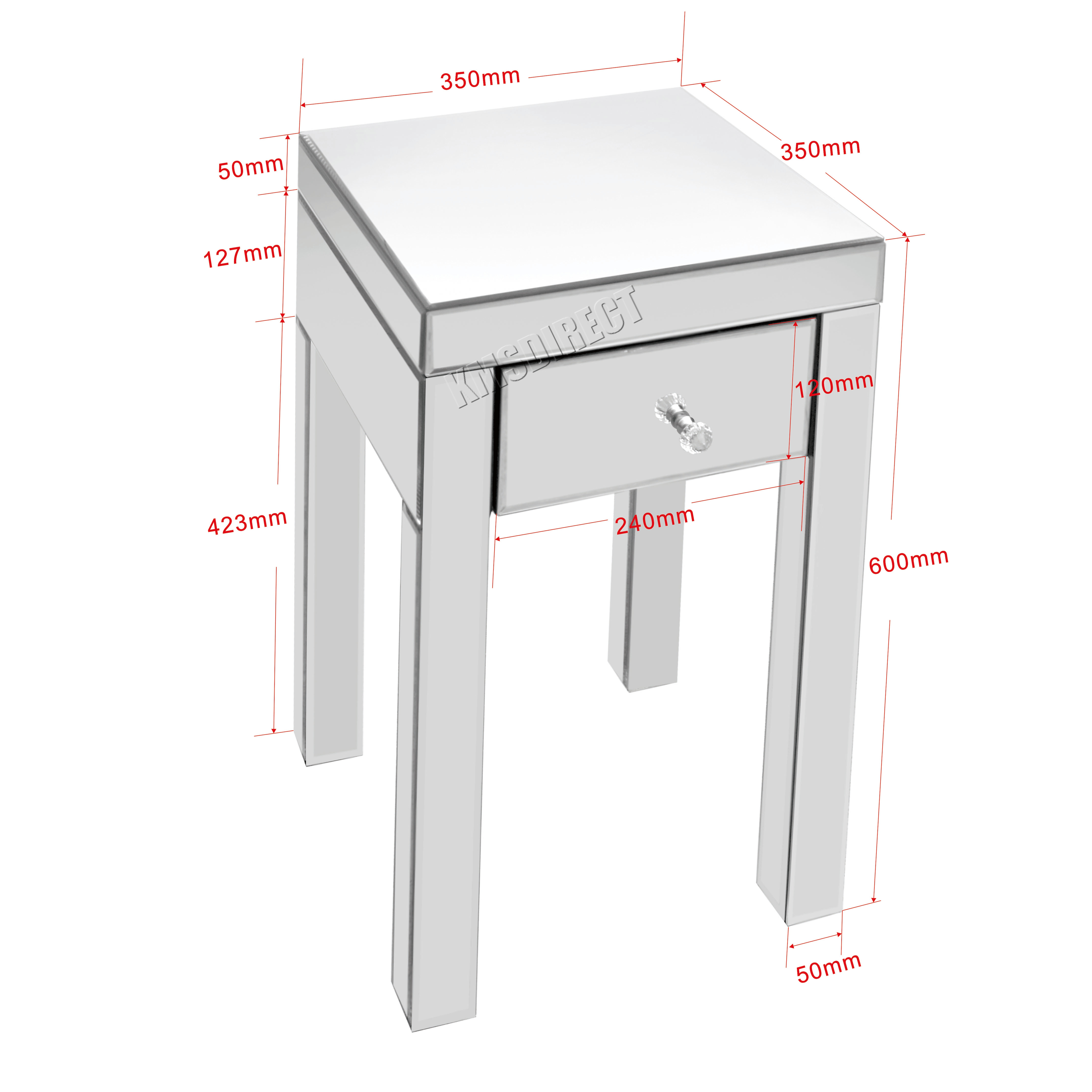 glass bedside table. Sentinel WestWood Mirrored Furniture Glass Bedside Cabinet Table With Drawer Bedroom New