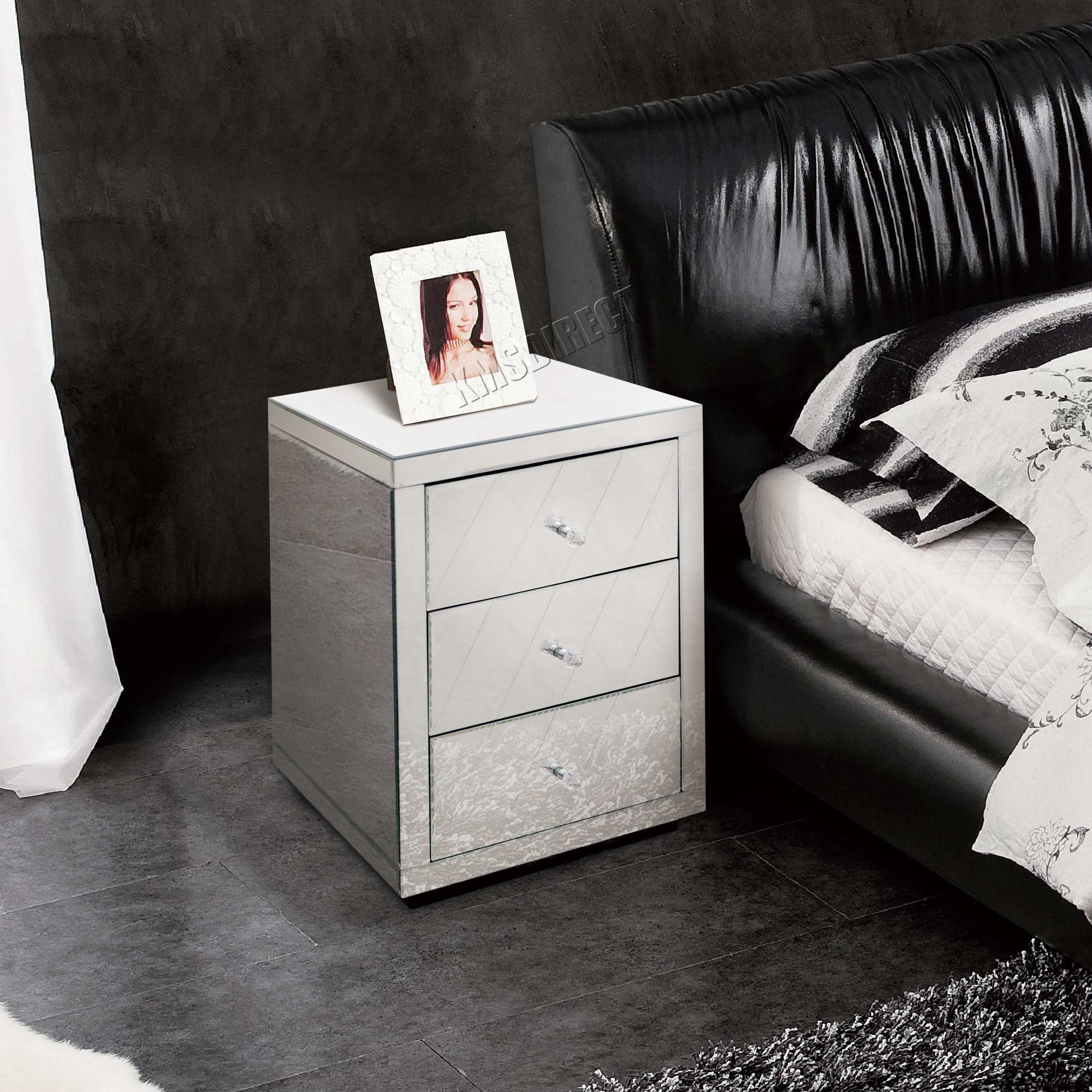foxhunter verspiegelt m bel glas nachttisch tisch mit kommode schlafzimmer neu ebay. Black Bedroom Furniture Sets. Home Design Ideas