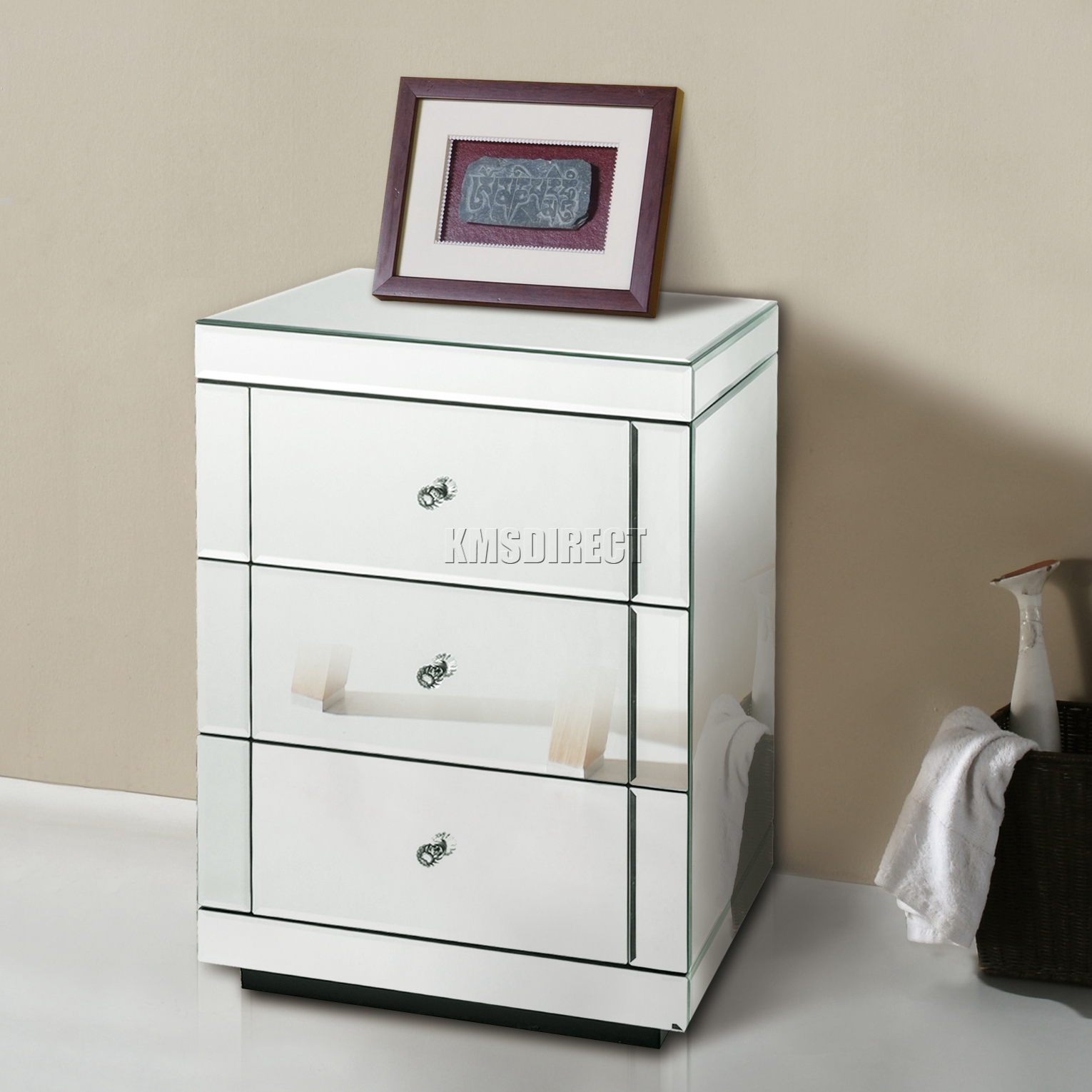 westwood mirrored furniture glass bedside cabinet table with drawer bedroom new ebay. Black Bedroom Furniture Sets. Home Design Ideas