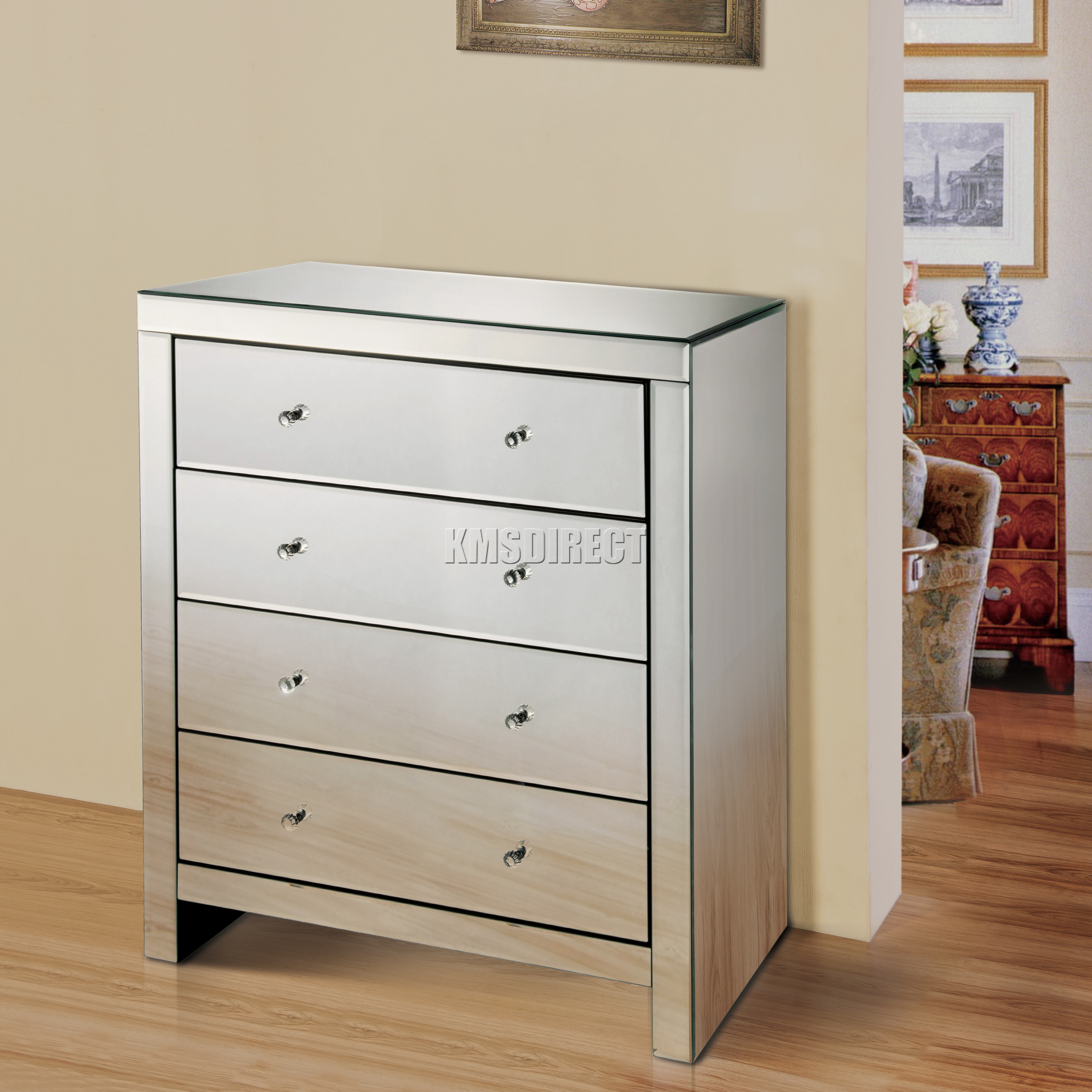 Captivating Sentinel FoxHunter Mirrored Furniture Glass 4 Drawer Chest Cabinet Table  Bedroom MC01 New