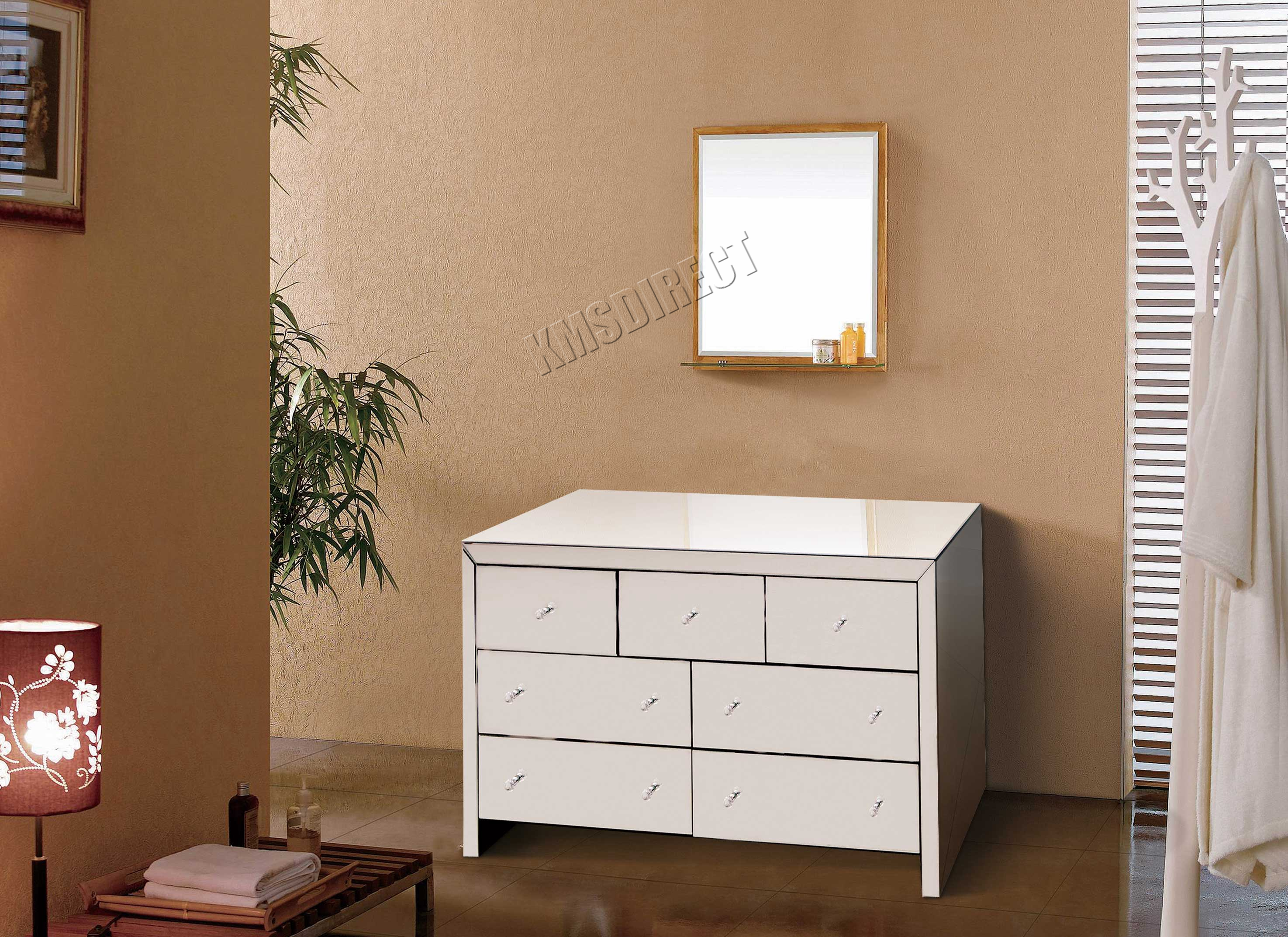 Foxhunter Mirrored Furniture Glass With Drawer Chest Cabinet Table  # Muebles Lifetime Espana