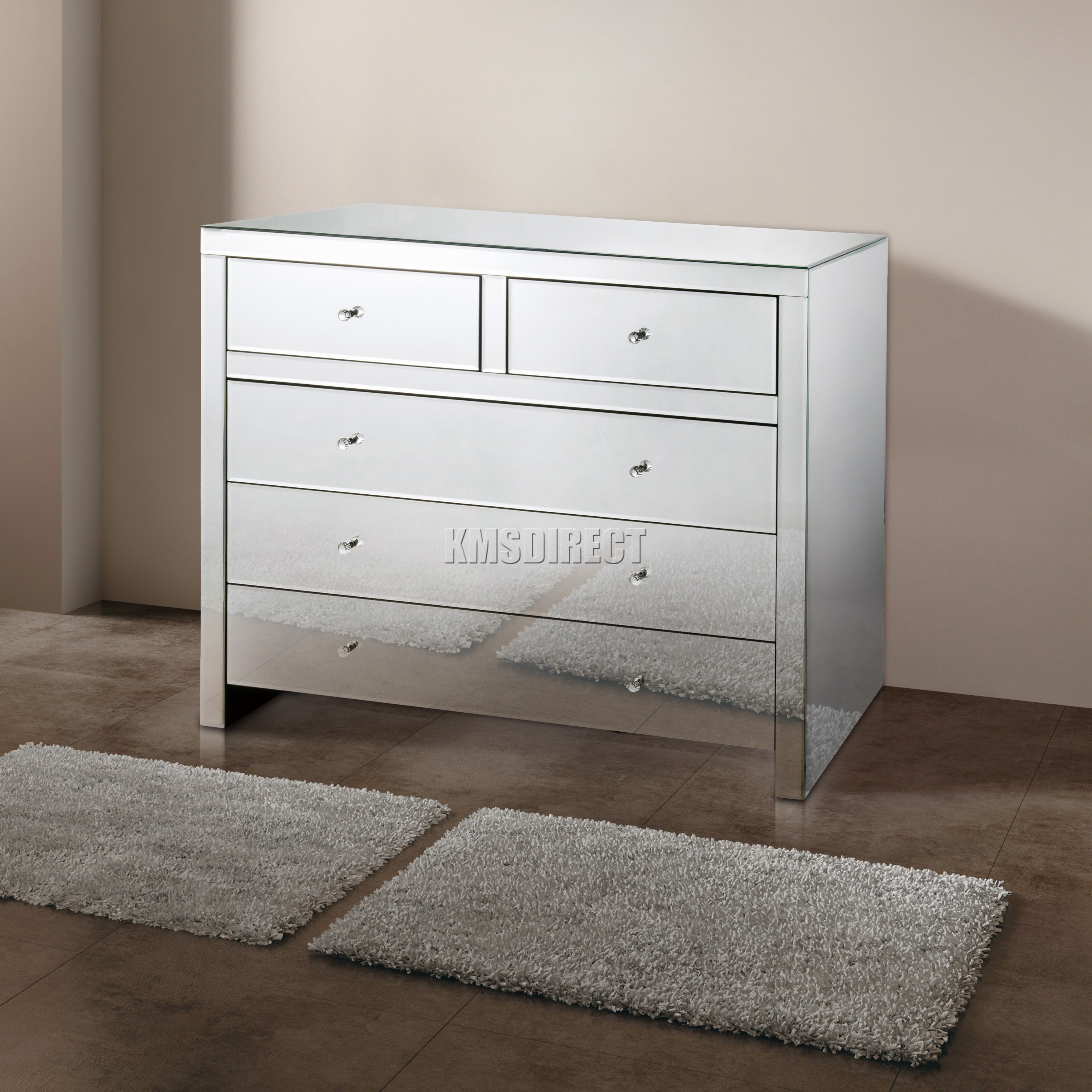 Foxhunter Mirrored Furniture Glass With Drawer Chest Cabinet Table  # Muebles Pestana