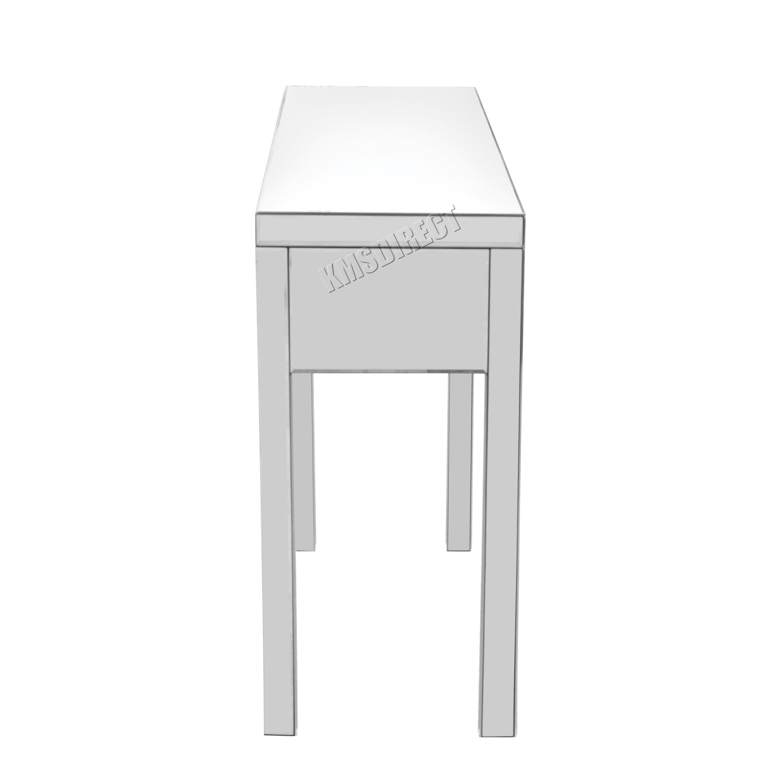 Glass dressing table - Sentinel Foxhunter Mirrored Furniture Glass Dressing Table With Drawer Console Bedroom