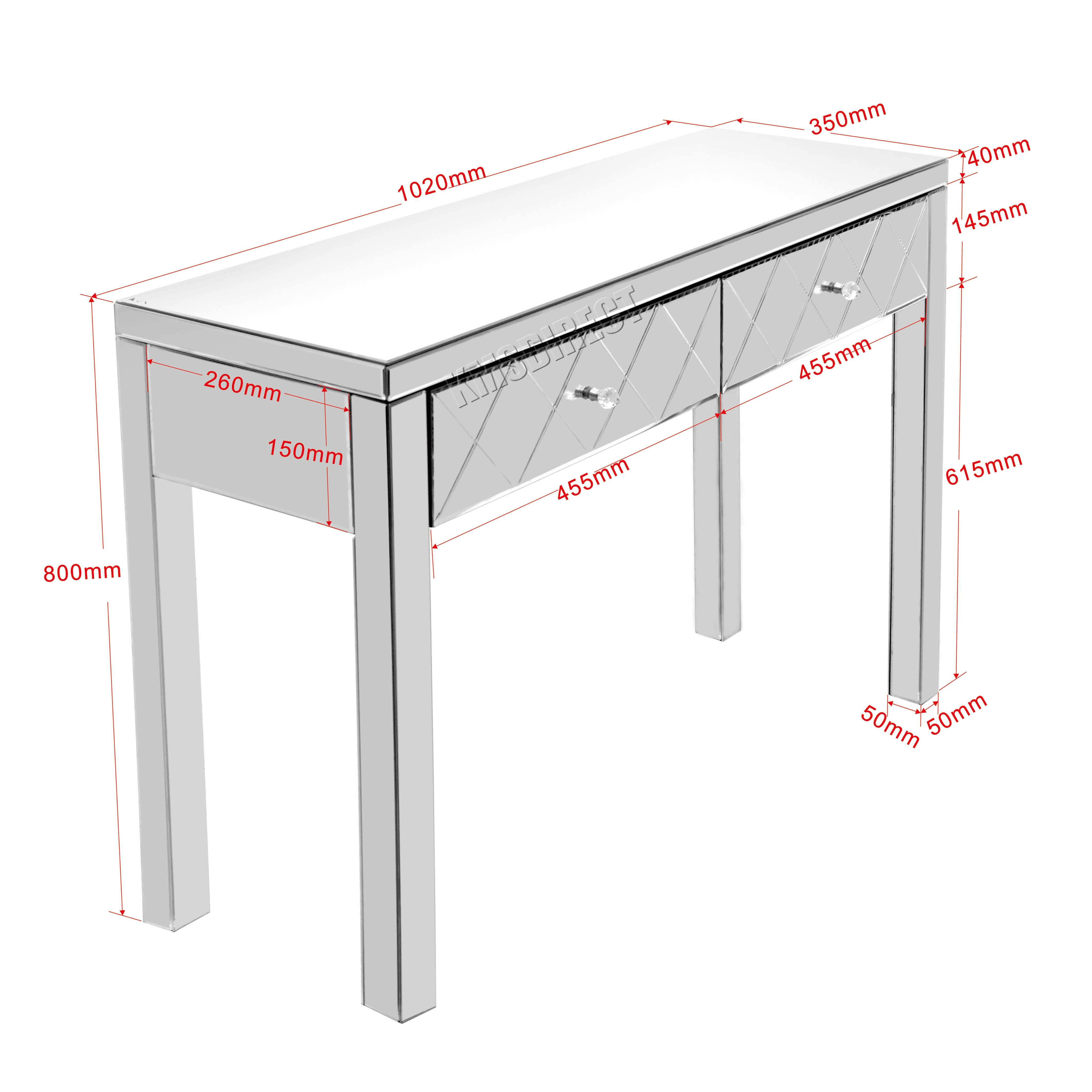 FoxHunter Mirrored Furniture Glass Dressing Table With Drawer ...