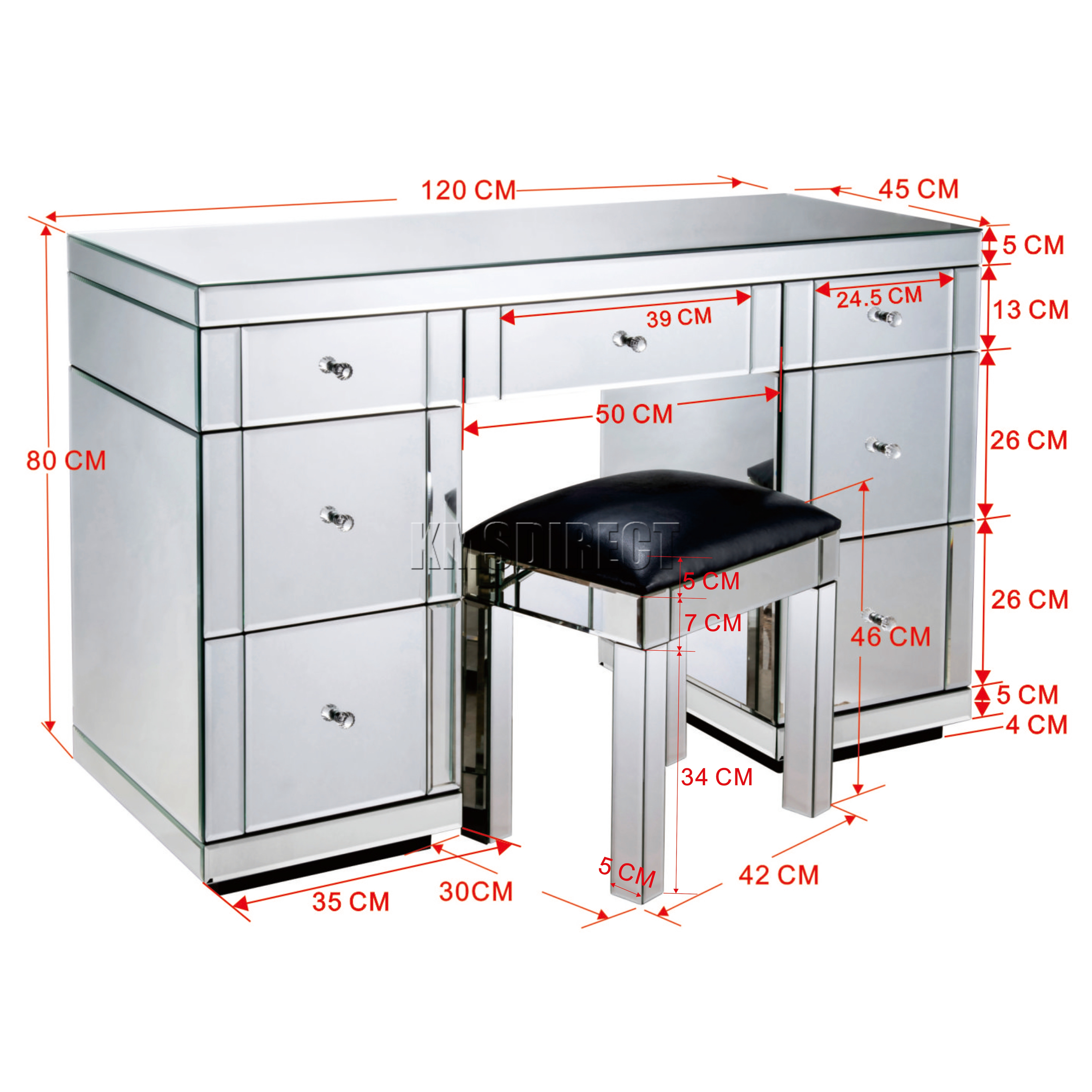 Genial WestWood Mirrored Furniture Glass Dressing Table With Drawer