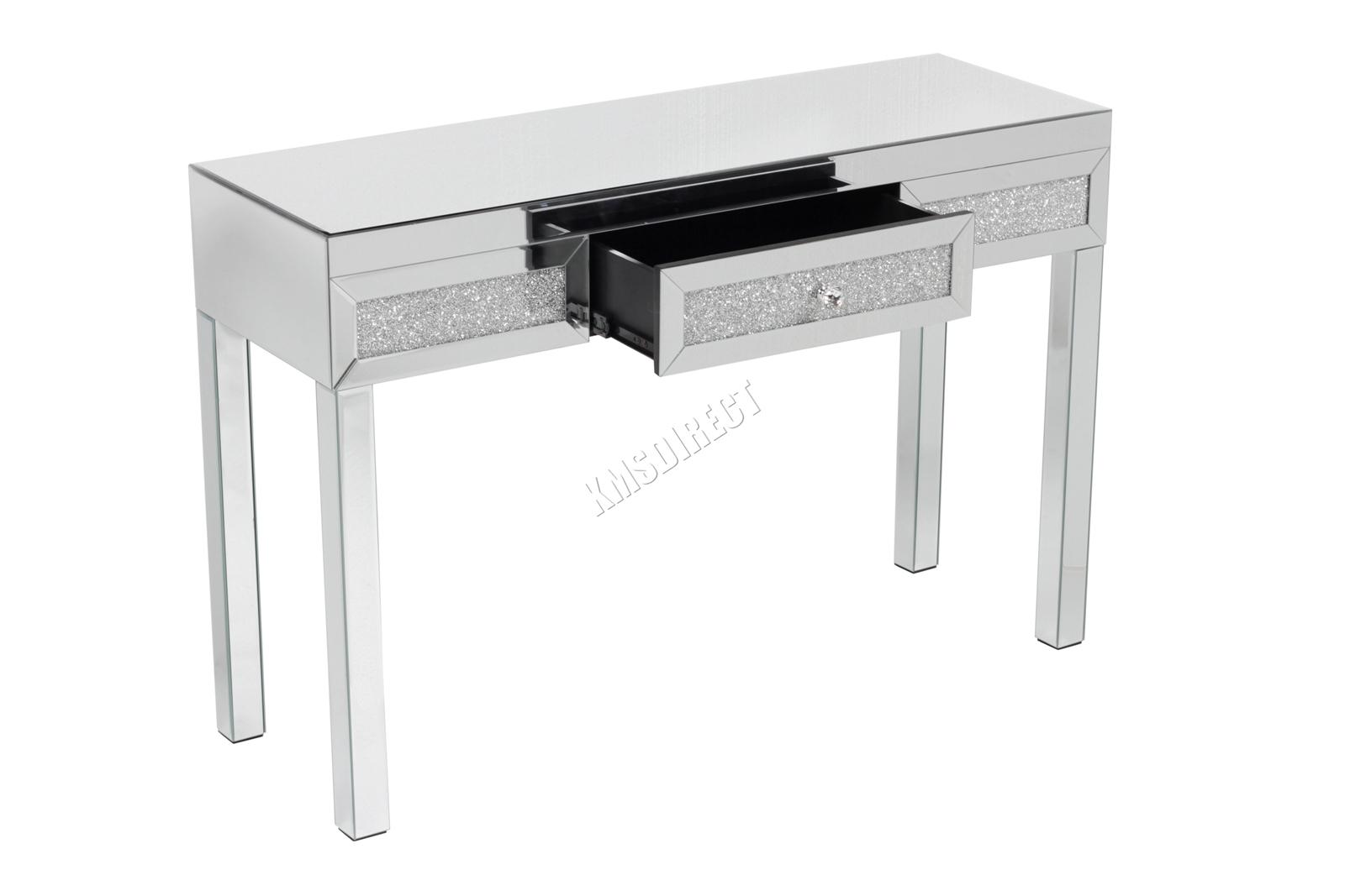 Westwood Miroir Mobilier Table De Toilette En Verre Avec Tiroir