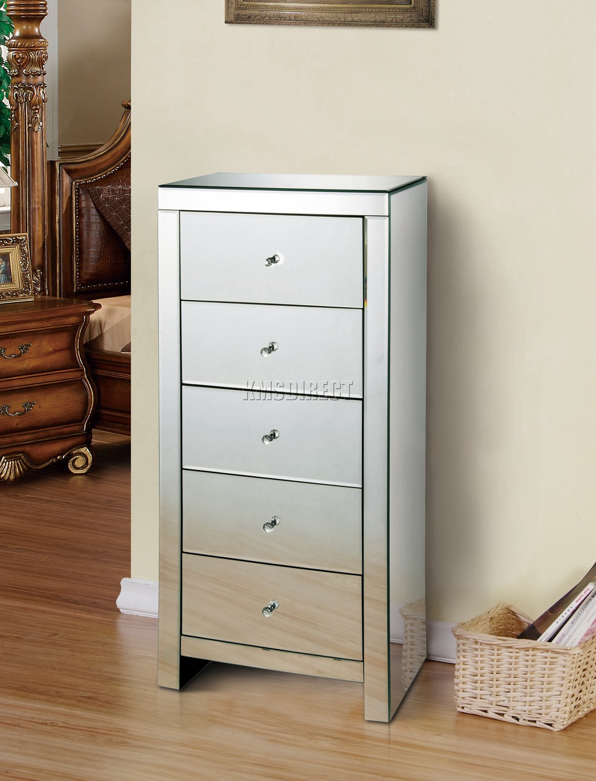 Details About Westwood Mirrored Furniture Gl Tallboy Chest Cabinet With 5 Drawer Mtc01 New