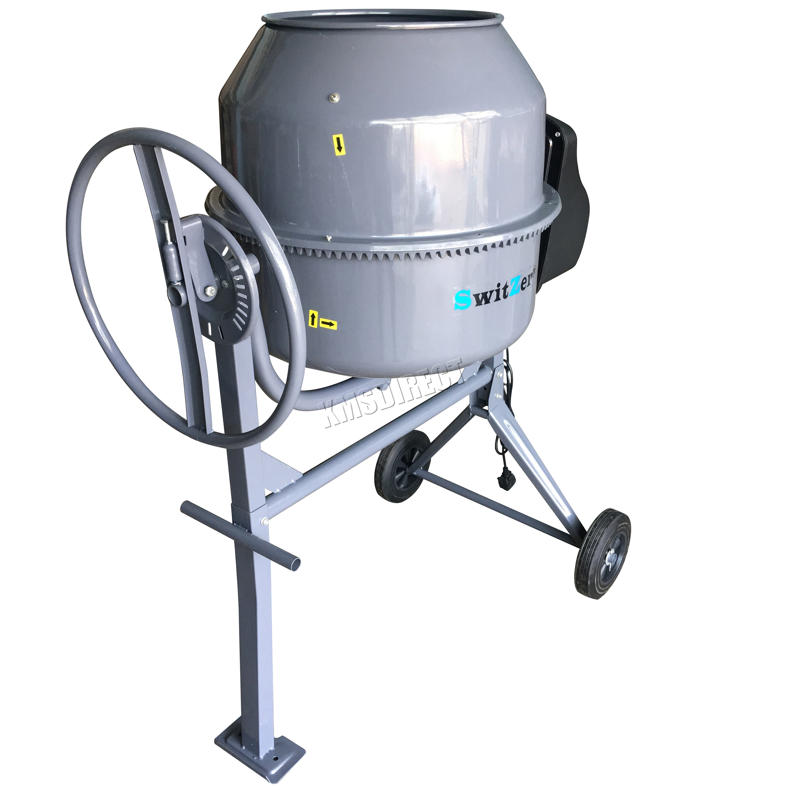 SwitZer 650W Electric Concrete Cement Mixer Mortar Plaster Machine 180L Drum